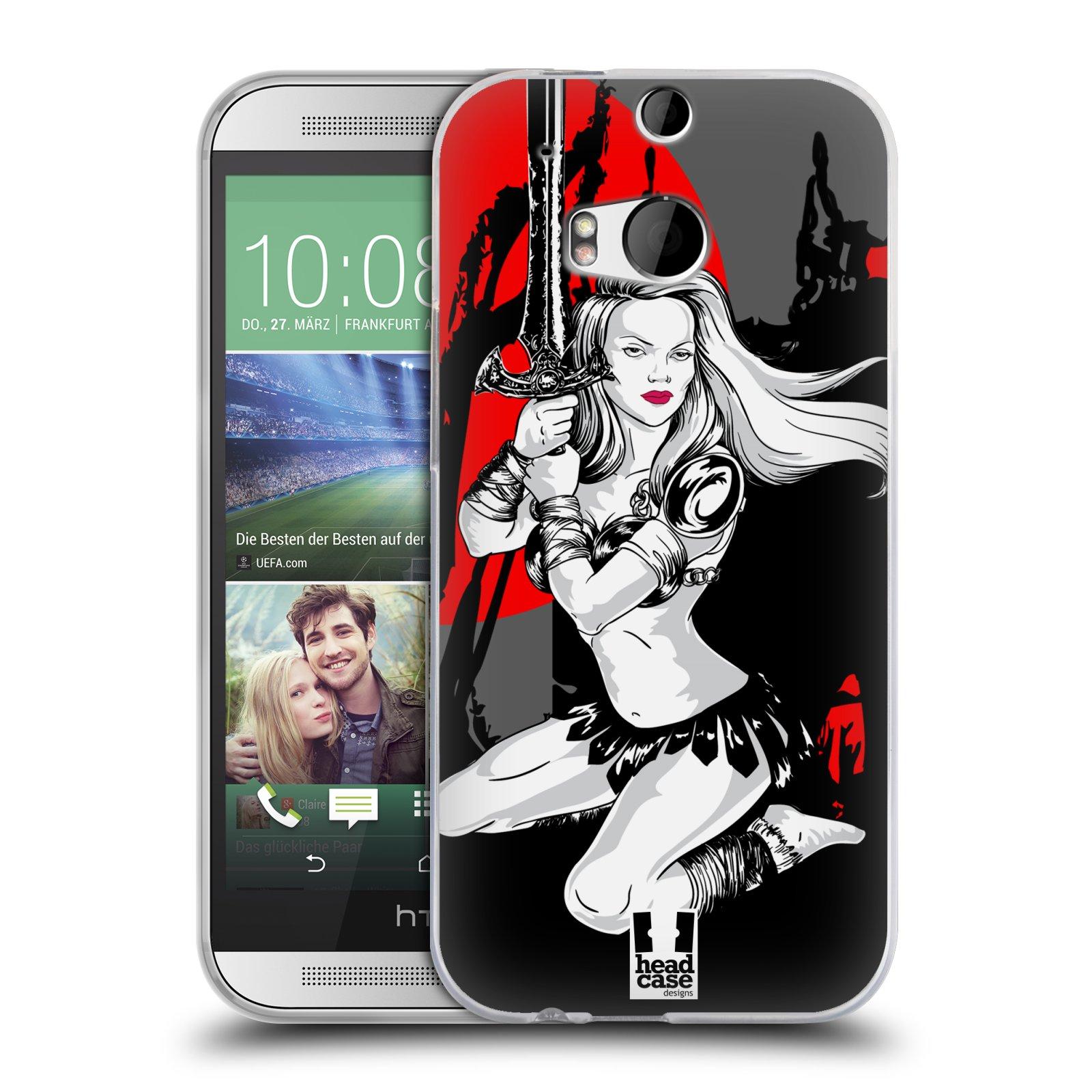 HEAD CASE silikonový obal na mobil HTC ONE (M8) vzor Komixové bojovnice AMAZONKA