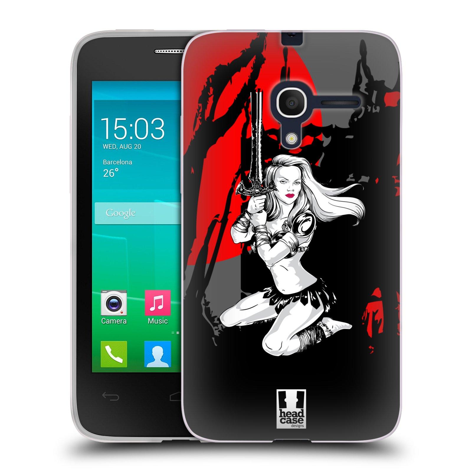 HEAD CASE silikonový obal na mobil Alcatel POP D3 OT-4035D vzor Komixové bojovnice AMAZONKA