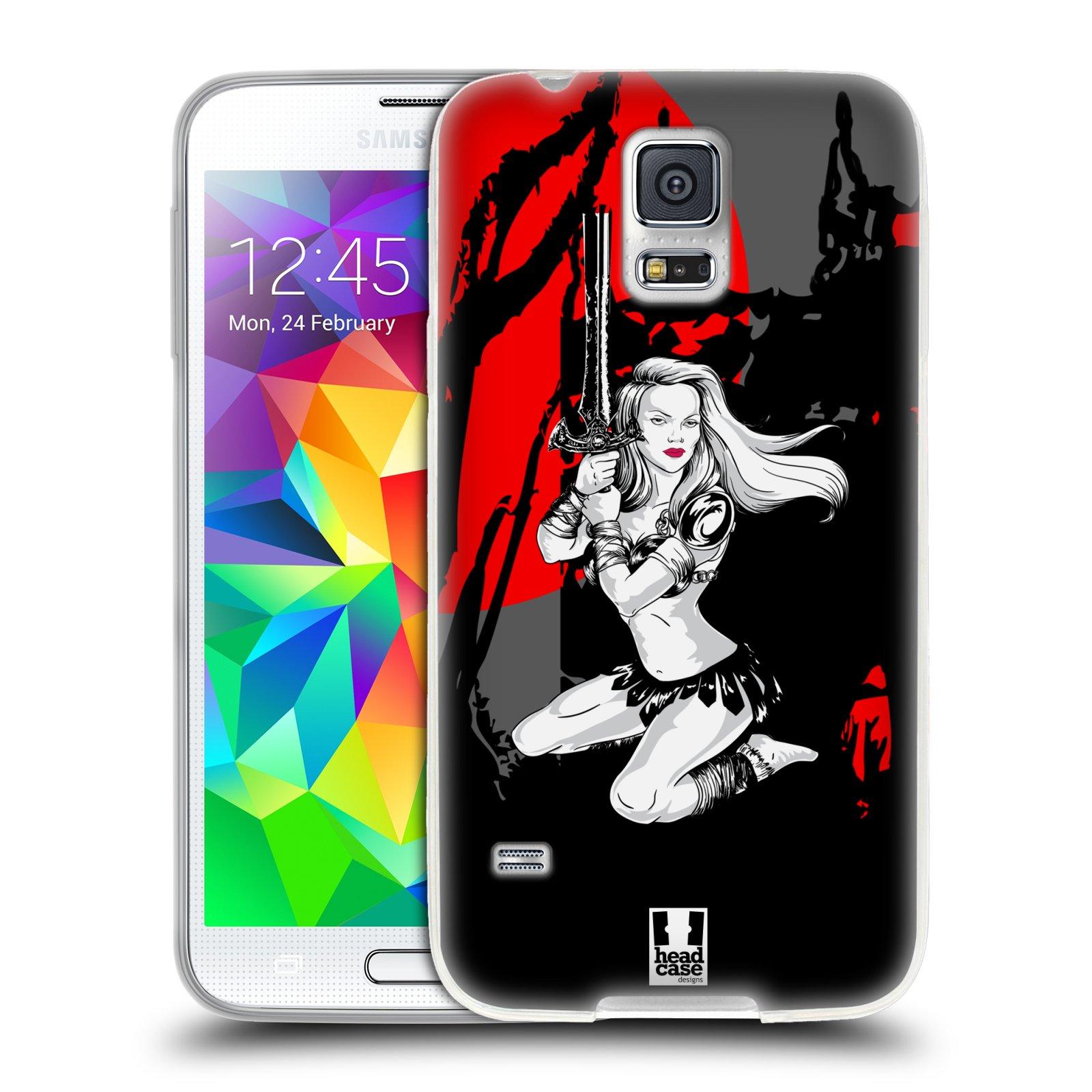HEAD CASE silikonový obal na mobil Samsung Galaxy S5/S5 NEO vzor Komixové bojovnice AMAZONKA