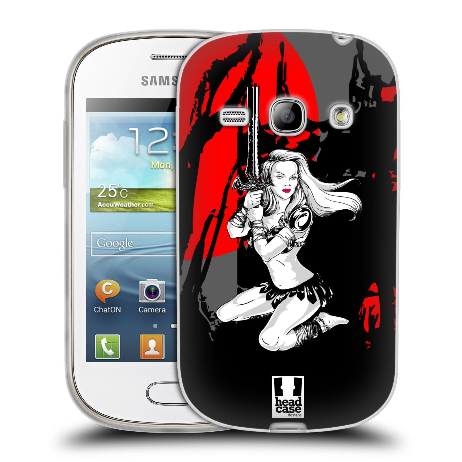 HEAD CASE silikonový obal na mobil Samsung Galaxy FAME vzor Komixové bojovnice AMAZONKA