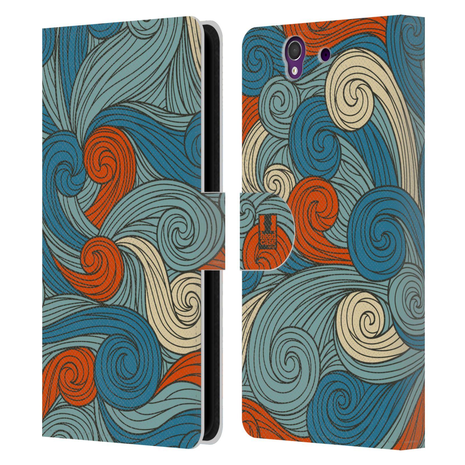 HEAD CASE Flipové pouzdro pro mobil SONY XPERIA Z (C6603) barevné vlny oranžová a modrá