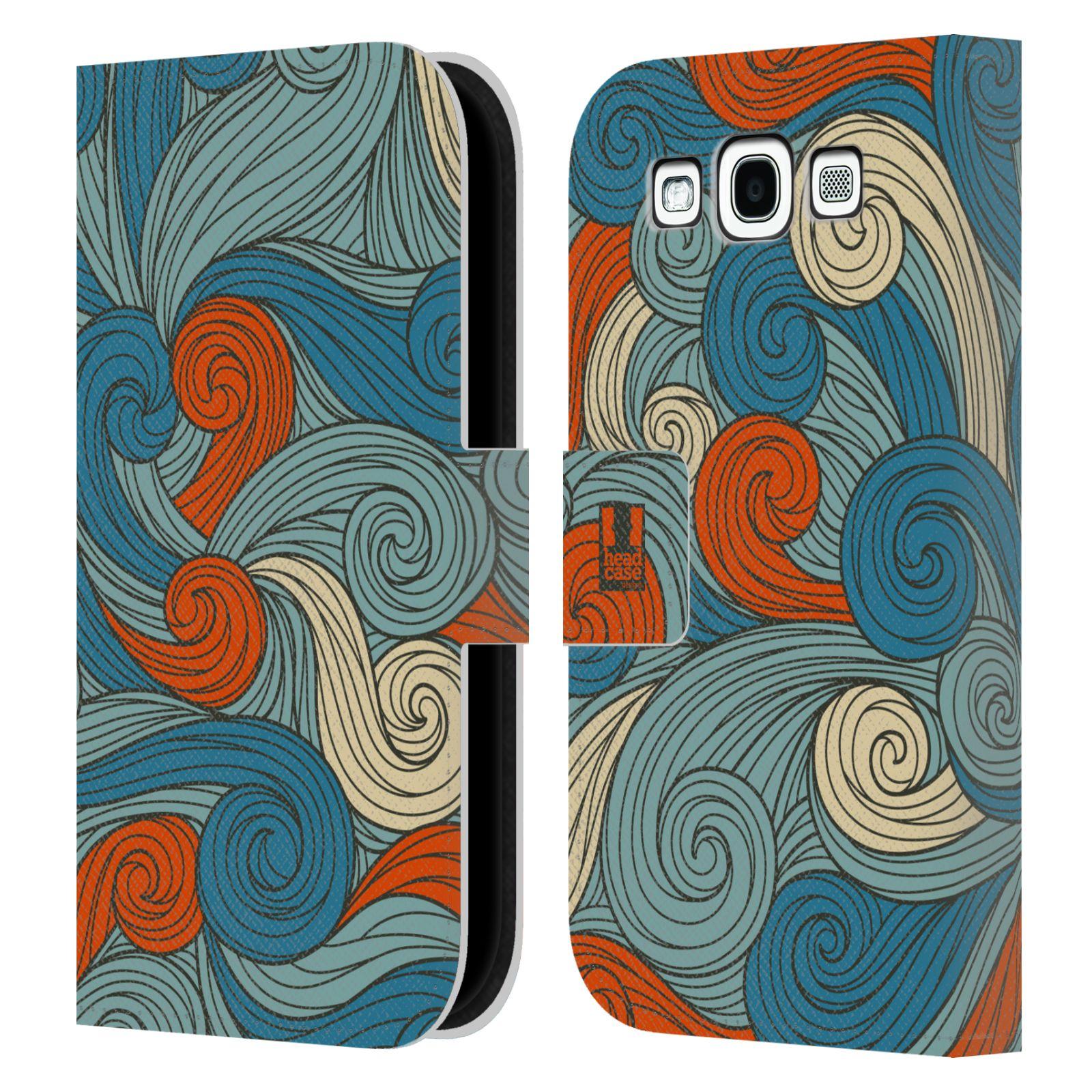 HEAD CASE Flipové pouzdro pro mobil Samsung Galaxy S3 barevné vlny oranžová a modrá
