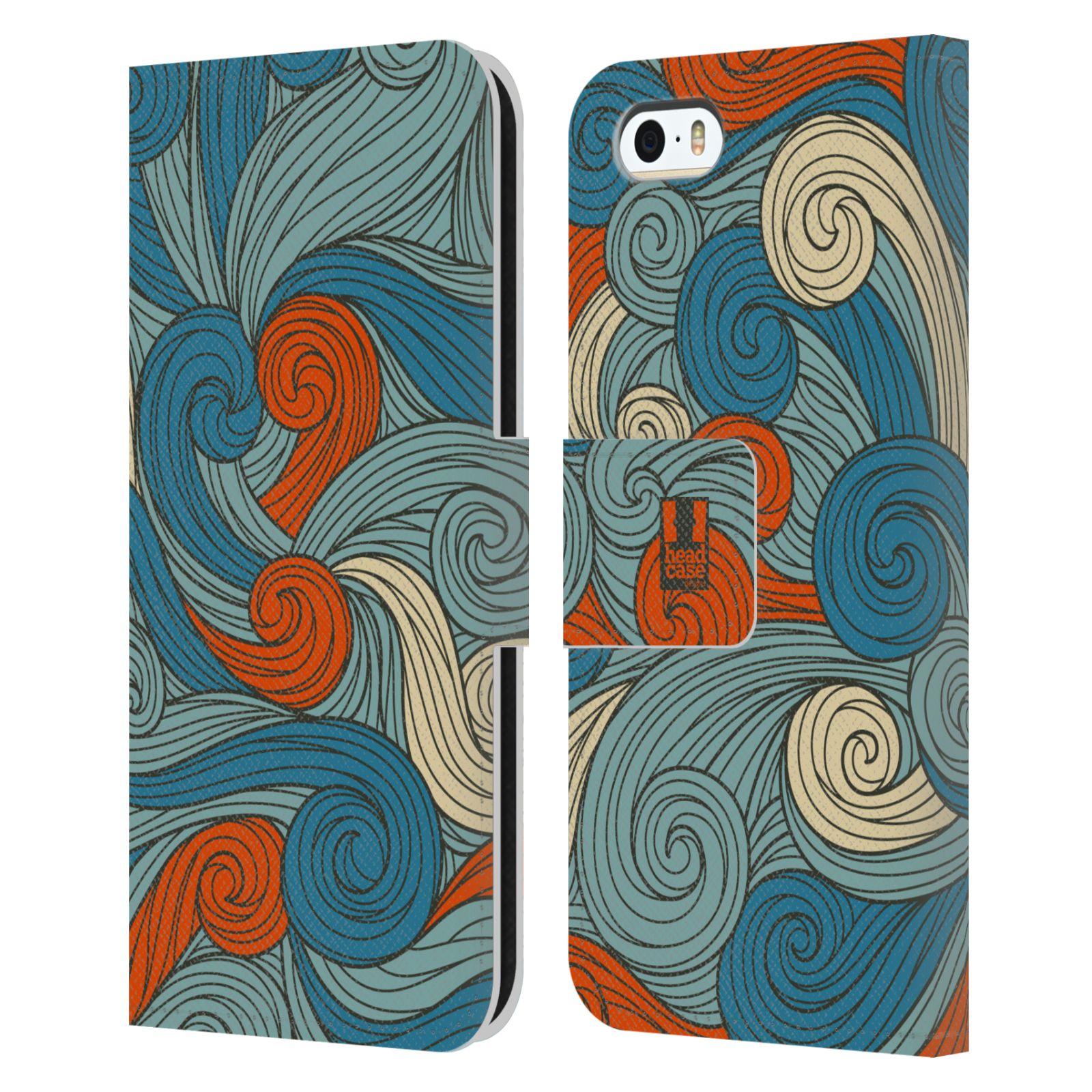 HEAD CASE Flipové pouzdro pro mobil Apple Iphone 5/5s barevné vlny oranžová a modrá