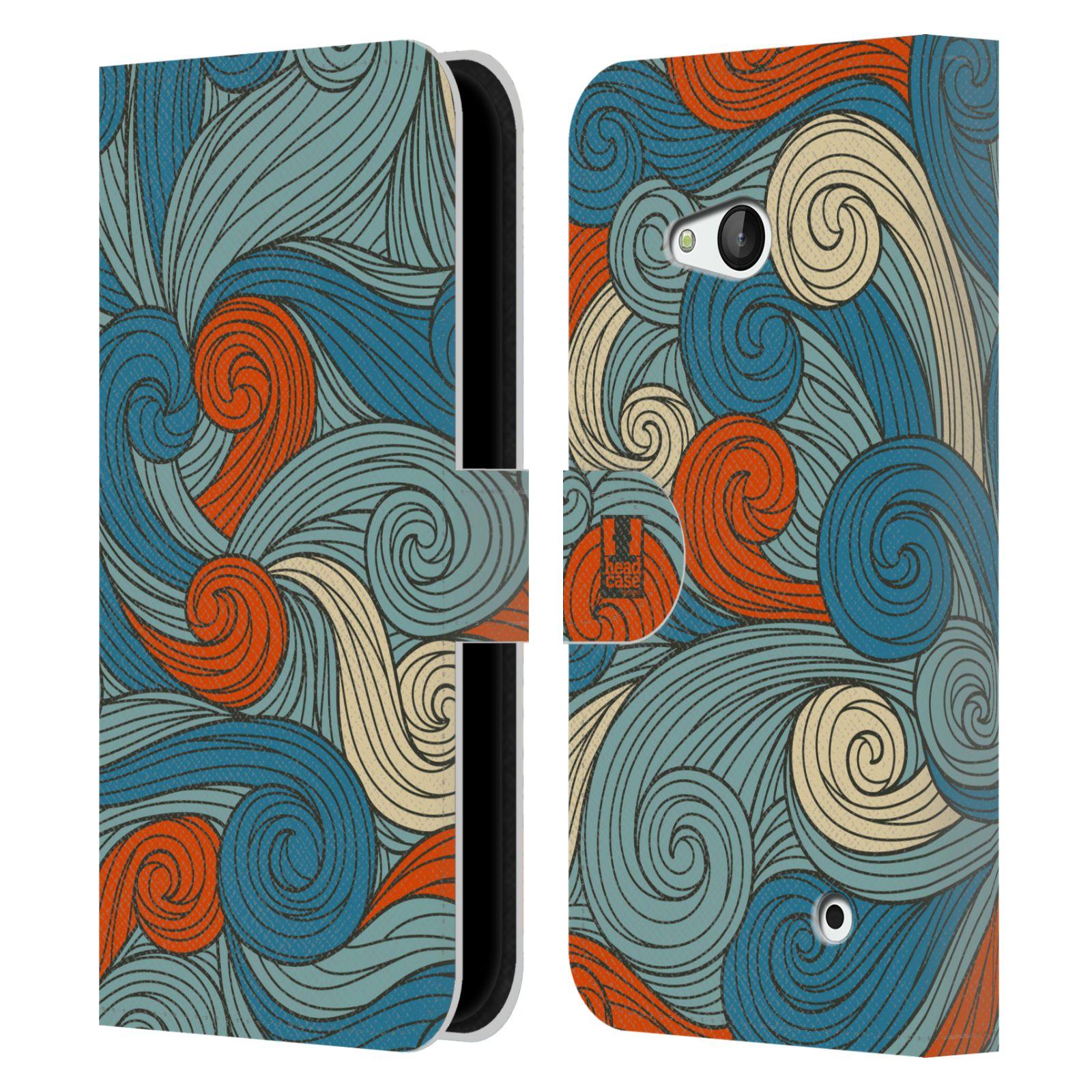 HEAD CASE Flipové pouzdro pro mobil NOKIA / MICROSOFT LUMIA 640 / LUMIA 640 DUAL barevné vlny oranžová a modrá