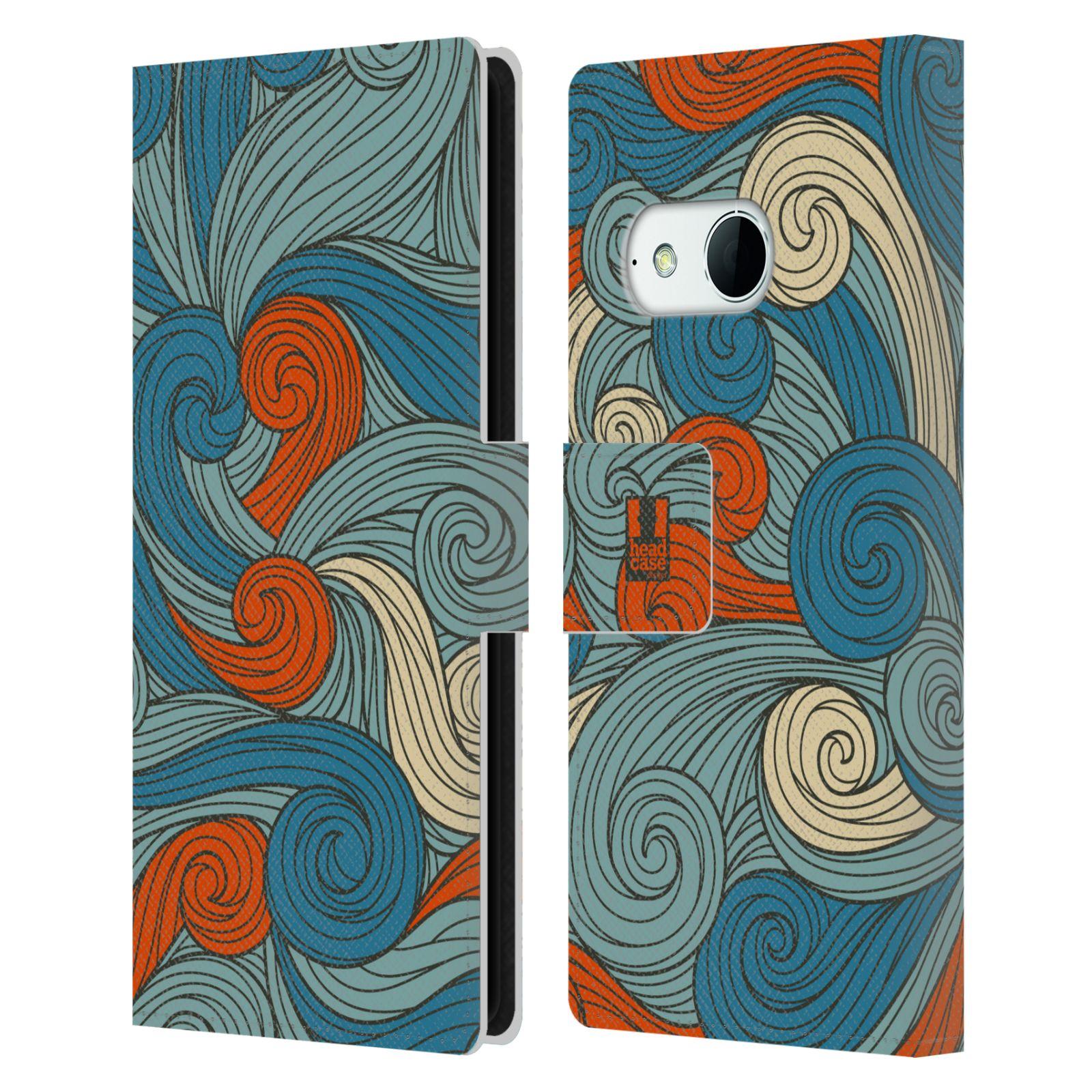 HEAD CASE Flipové pouzdro pro mobil HTC ONE MINI 2 (M8) barevné vlny oranžová a modrá