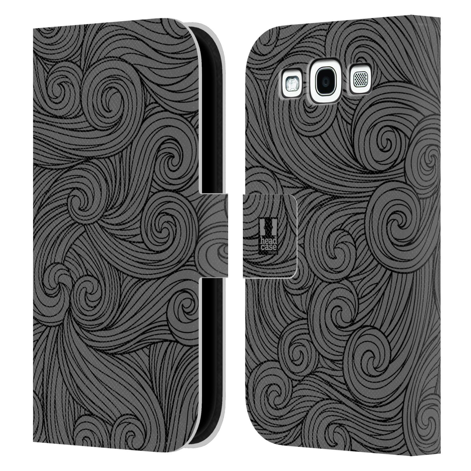 HEAD CASE Flipové pouzdro pro mobil Samsung Galaxy S3 barevné vlny šedá