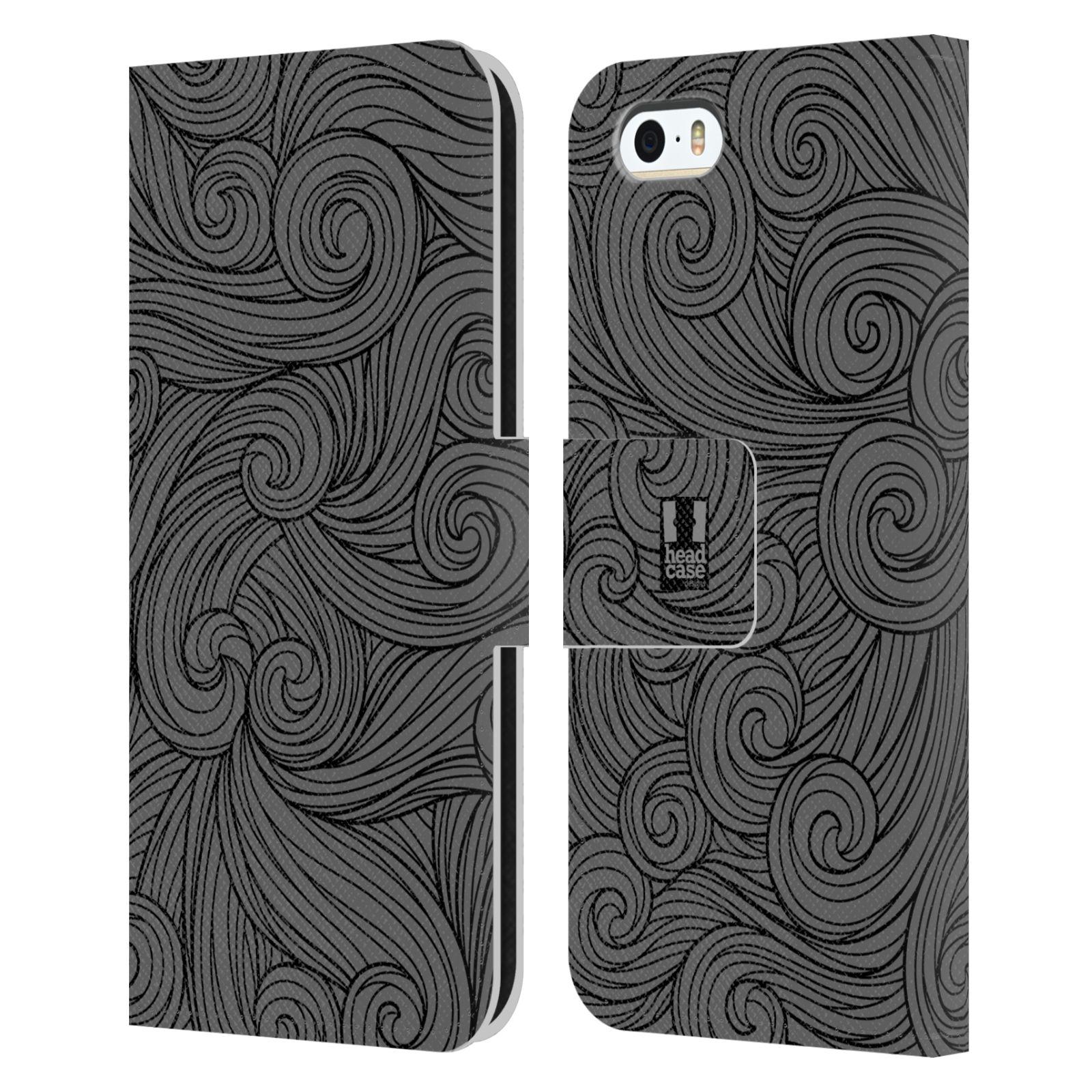 HEAD CASE Flipové pouzdro pro mobil Apple Iphone 5/5s barevné vlny šedá