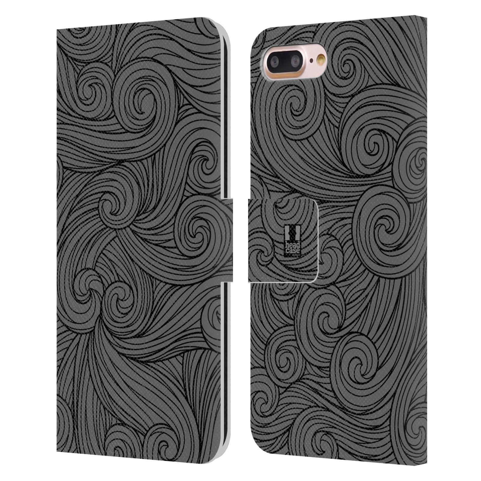 HEAD CASE Flipové pouzdro pro mobil Apple Iphone 7 PLUS / 8 PLUS barevné vlny šedá