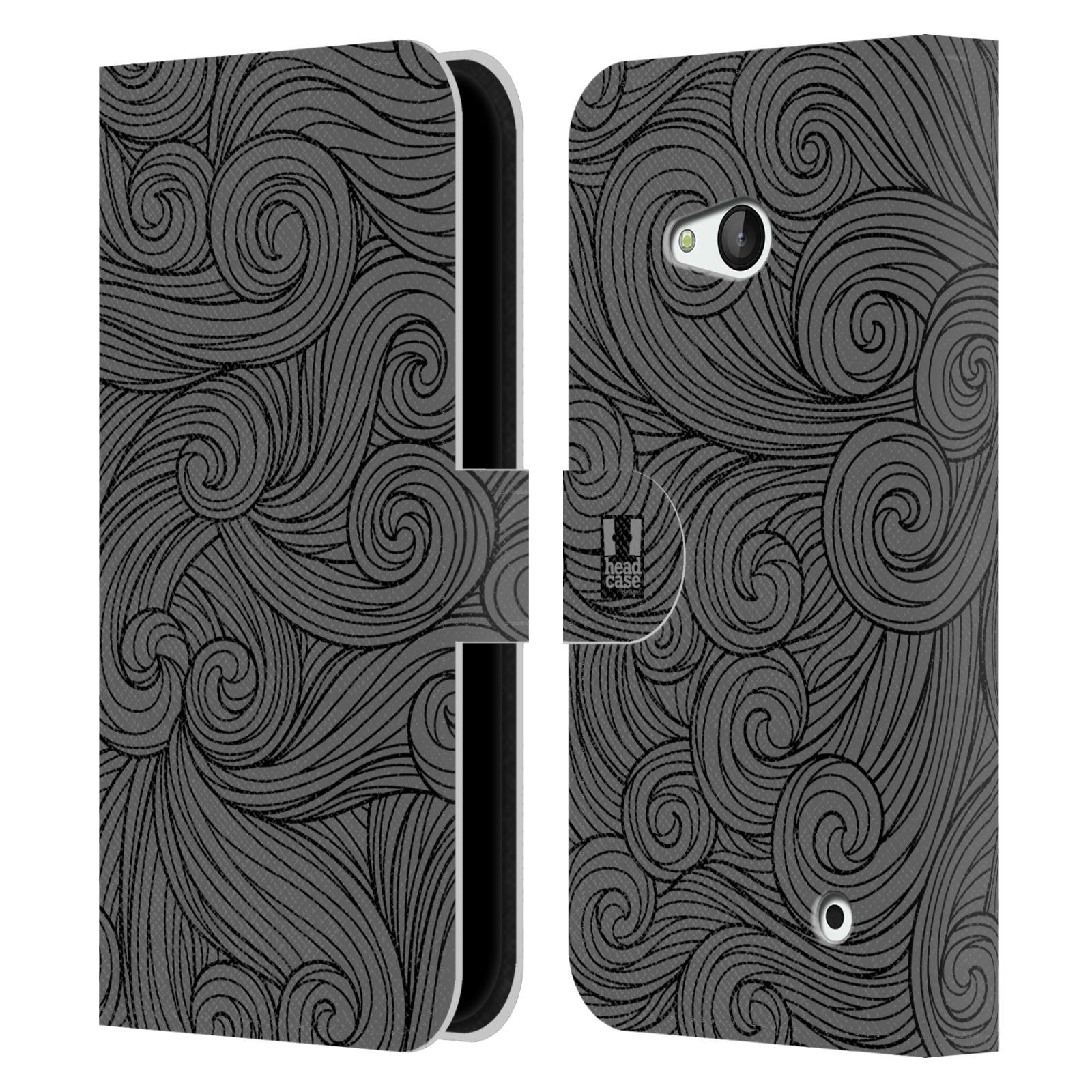 HEAD CASE Flipové pouzdro pro mobil NOKIA / MICROSOFT LUMIA 640 / LUMIA 640 DUAL barevné vlny šedá