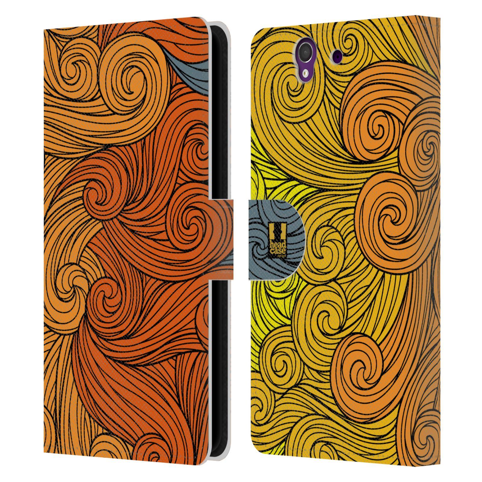 HEAD CASE Flipové pouzdro pro mobil SONY XPERIA Z (C6603) barevné vlny žlutá a oranžová