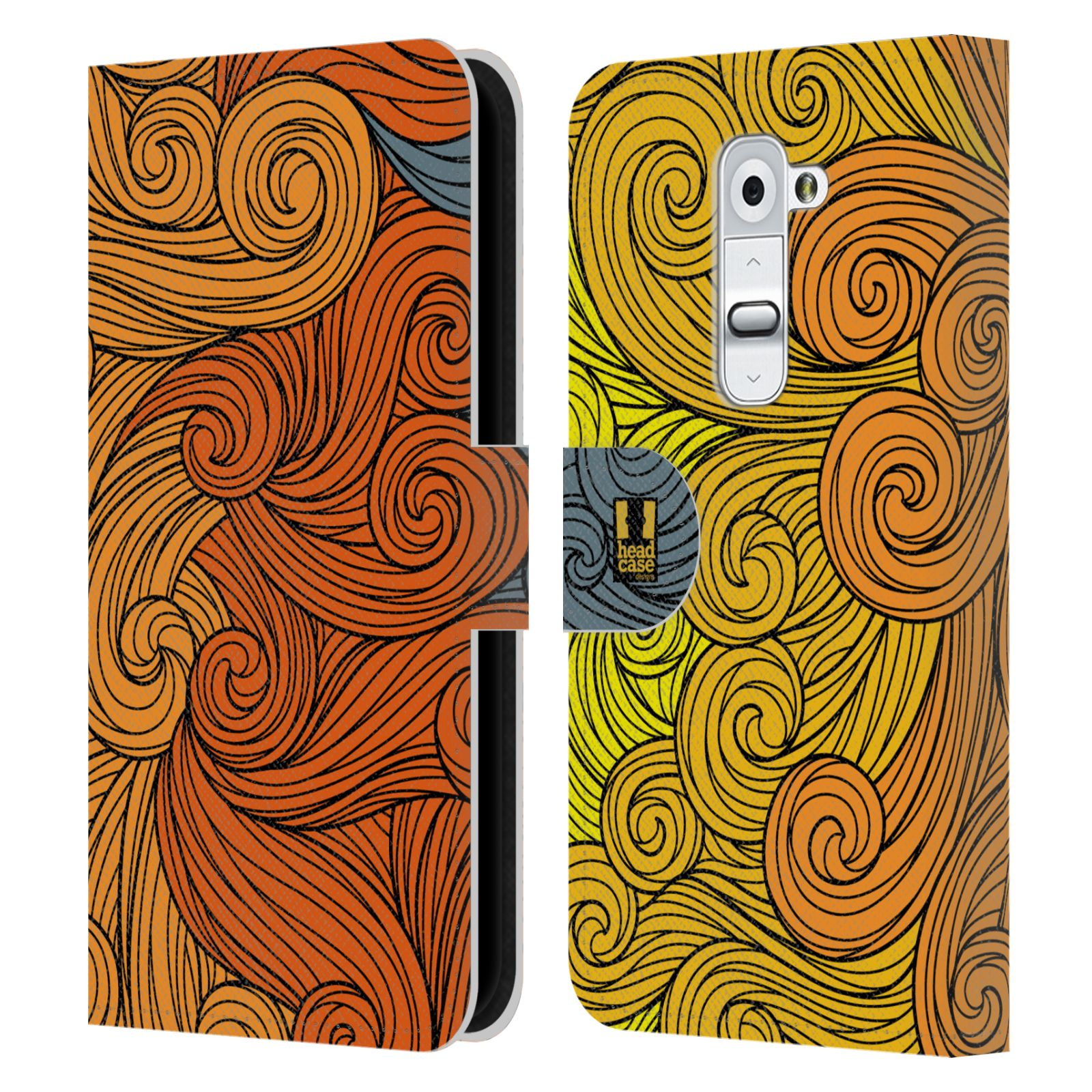 HEAD CASE Flipové pouzdro pro mobil LG G2 (D802) barevné vlny žlutá a oranžová