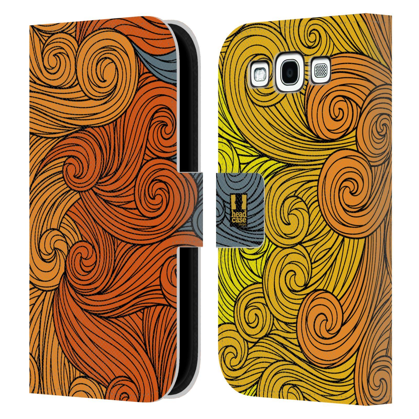 HEAD CASE Flipové pouzdro pro mobil Samsung Galaxy S3 barevné vlny žlutá a oranžová