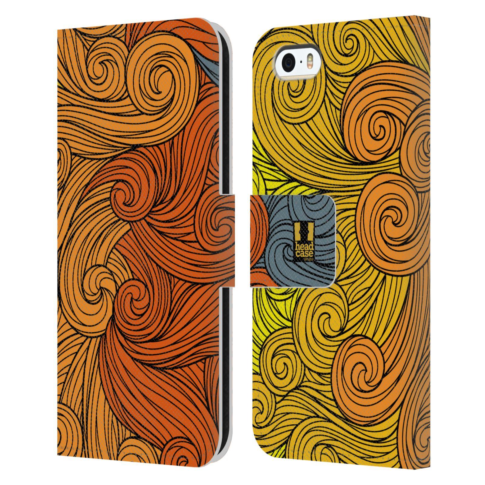HEAD CASE Flipové pouzdro pro mobil Apple Iphone 5/5s barevné vlny žlutá a oranžová