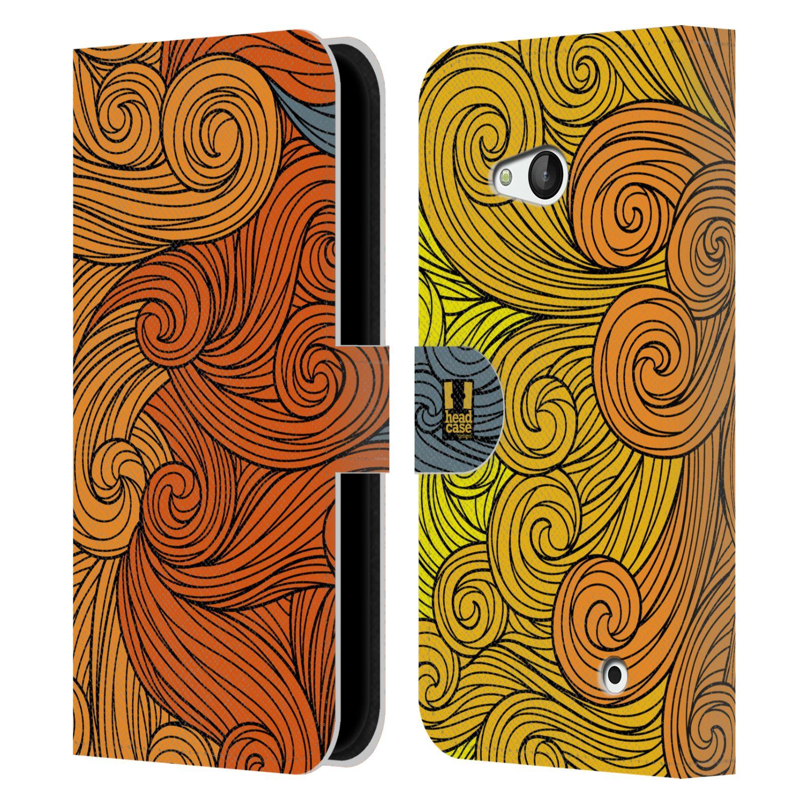 HEAD CASE Flipové pouzdro pro mobil NOKIA / MICROSOFT LUMIA 640 / LUMIA 640 DUAL barevné vlny žlutá a oranžová