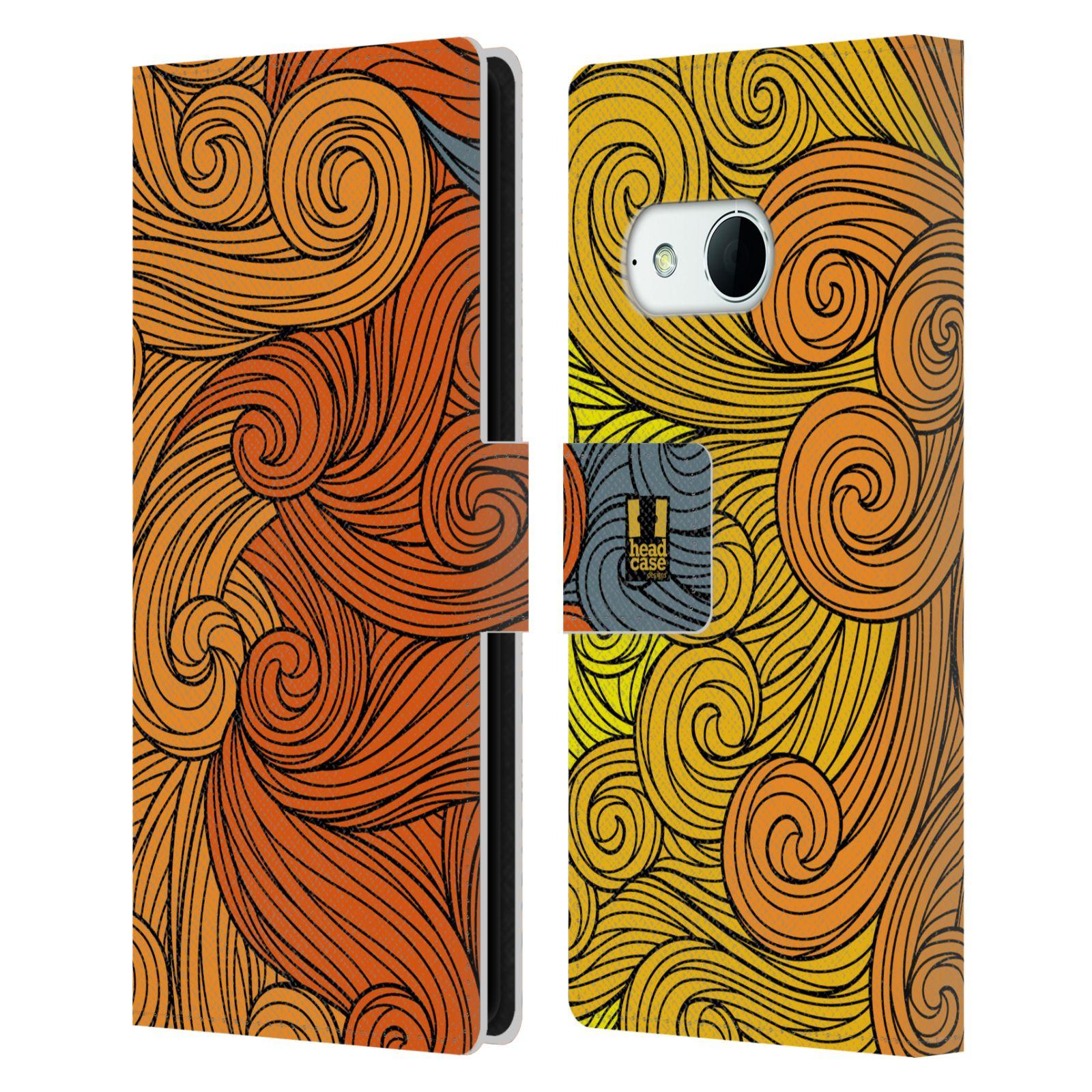 HEAD CASE Flipové pouzdro pro mobil HTC ONE MINI 2 (M8) barevné vlny žlutá a oranžová