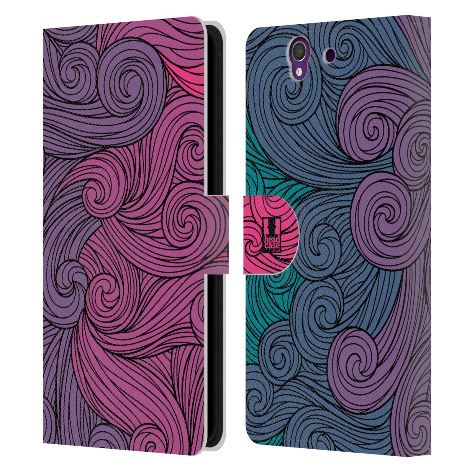 HEAD CASE Flipové pouzdro pro mobil SONY XPERIA Z (C6603) barevné vlny růžová a modrá