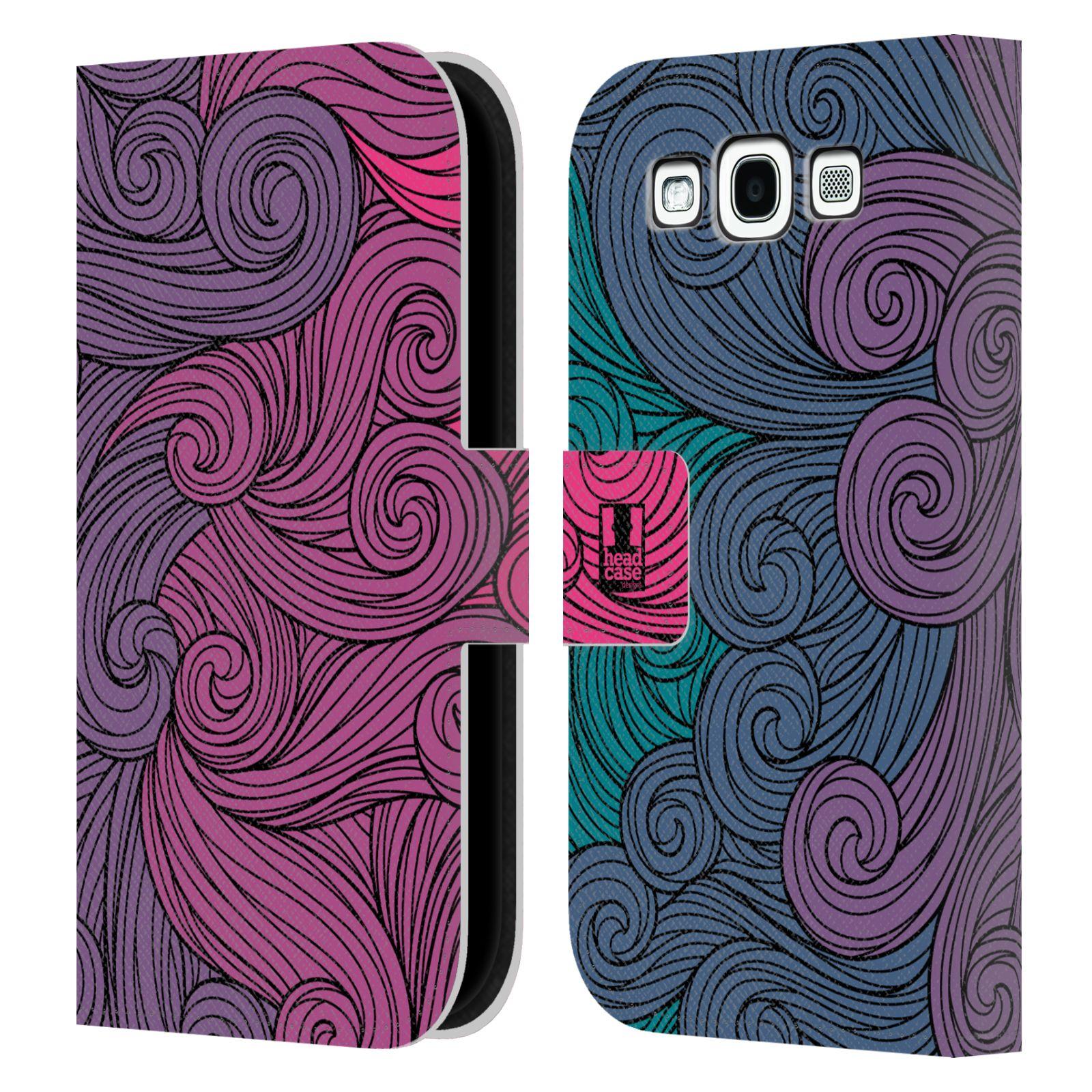 HEAD CASE Flipové pouzdro pro mobil Samsung Galaxy S3 barevné vlny růžová a modrá