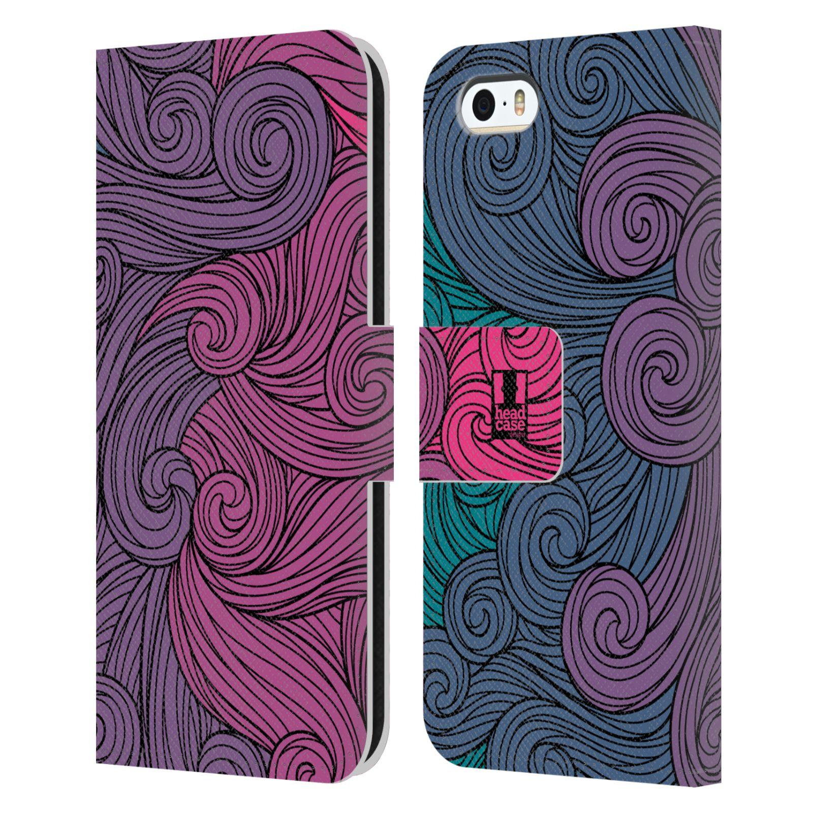 HEAD CASE Flipové pouzdro pro mobil Apple Iphone 5/5s barevné vlny růžová a modrá