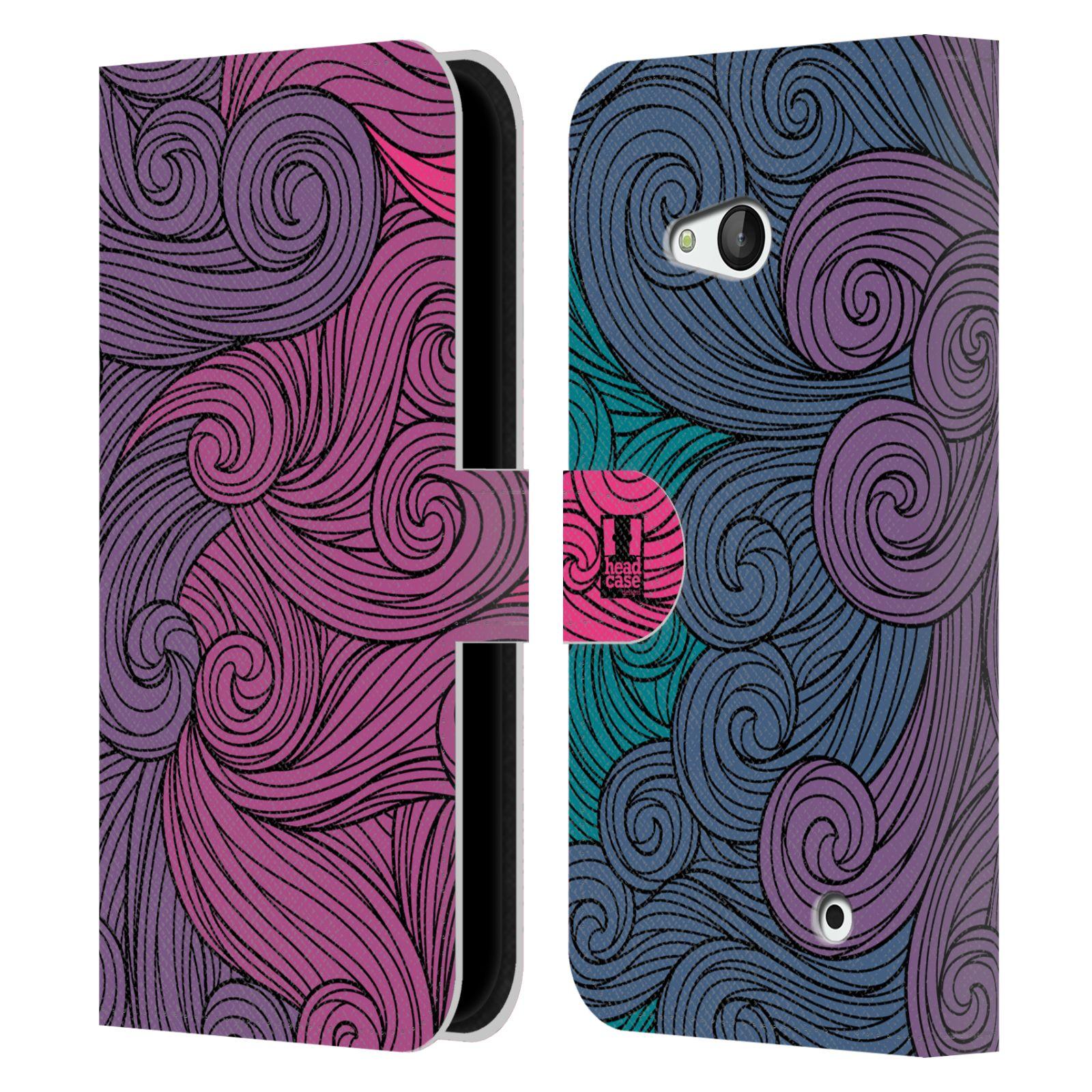 HEAD CASE Flipové pouzdro pro mobil NOKIA / MICROSOFT LUMIA 640 / LUMIA 640 DUAL barevné vlny růžová a modrá
