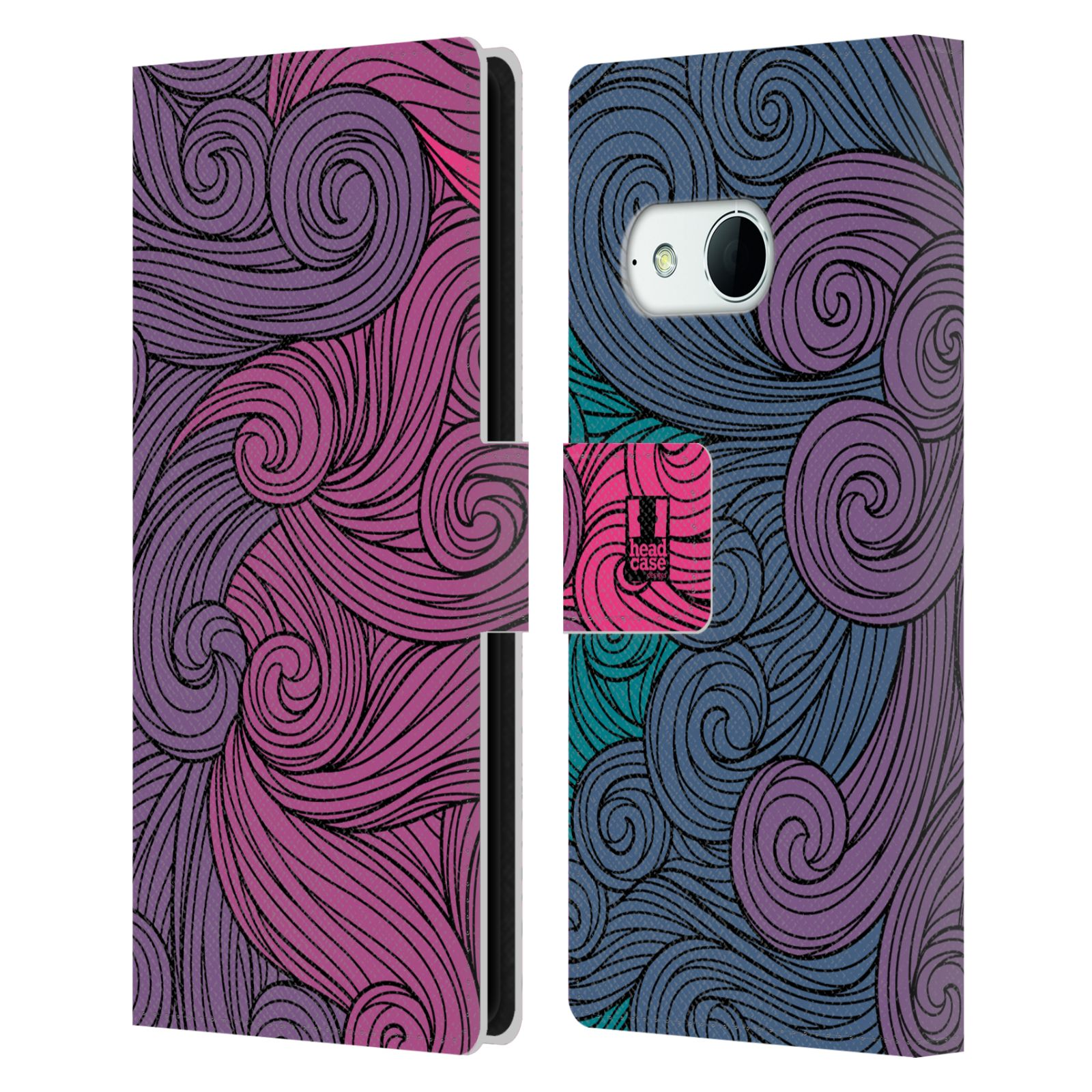 HEAD CASE Flipové pouzdro pro mobil HTC ONE MINI 2 (M8) barevné vlny růžová a modrá