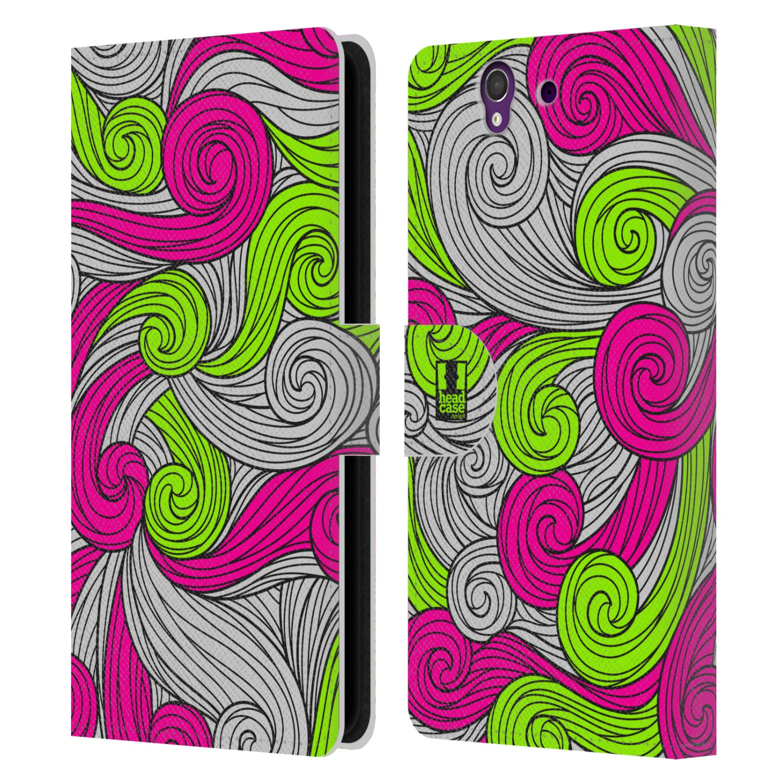 HEAD CASE Flipové pouzdro pro mobil SONY XPERIA Z (C6603) barevné vlny zářivě růžová a zelená