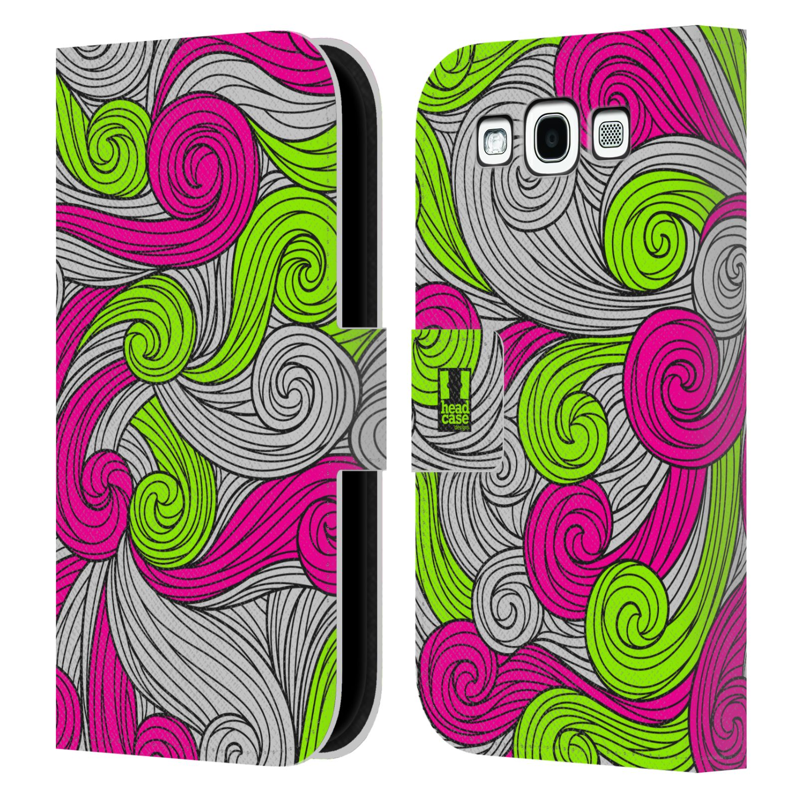 HEAD CASE Flipové pouzdro pro mobil Samsung Galaxy S3 barevné vlny zářivě růžová a zelená
