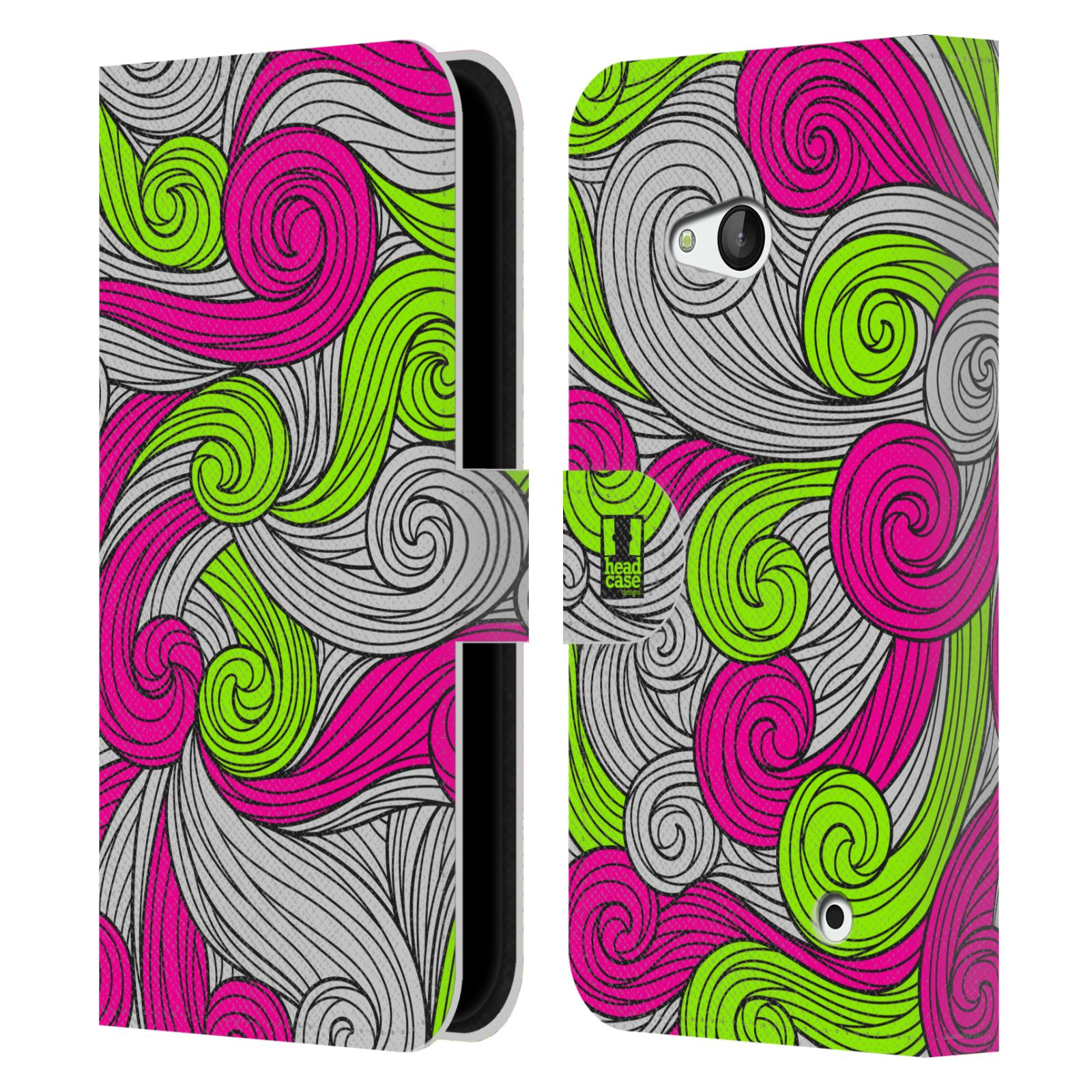 HEAD CASE Flipové pouzdro pro mobil NOKIA / MICROSOFT LUMIA 640 / LUMIA 640 DUAL barevné vlny zářivě růžová a zelená