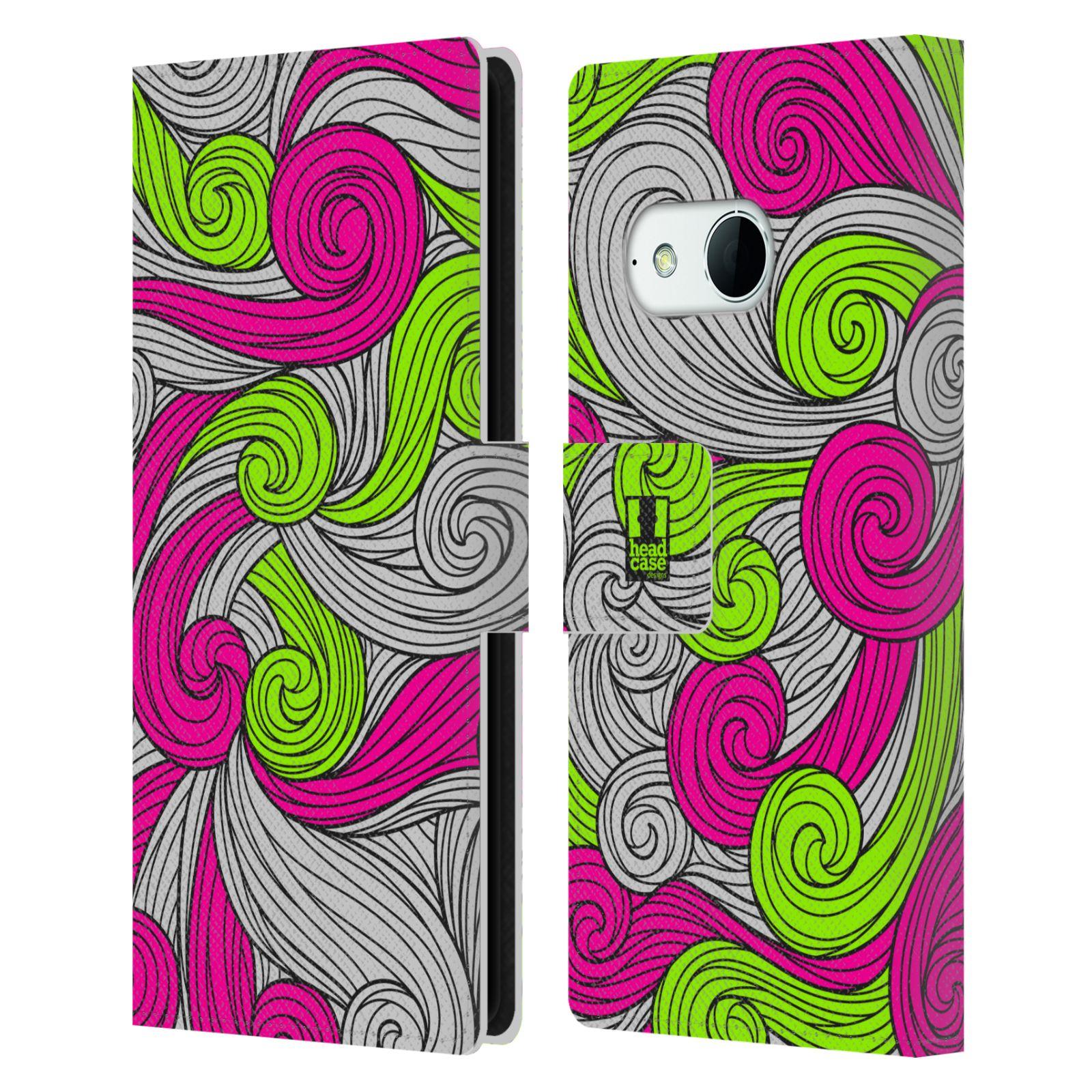 HEAD CASE Flipové pouzdro pro mobil HTC ONE MINI 2 (M8) barevné vlny zářivě růžová a zelená
