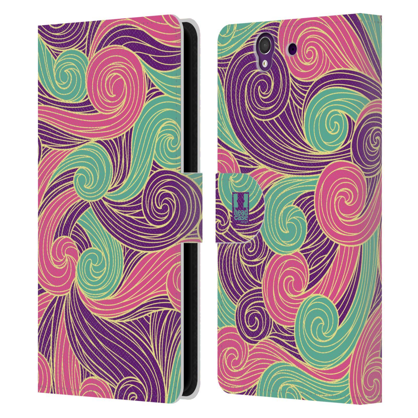 HEAD CASE Flipové pouzdro pro mobil SONY XPERIA Z (C6603) barevné vlny růžová a fialová