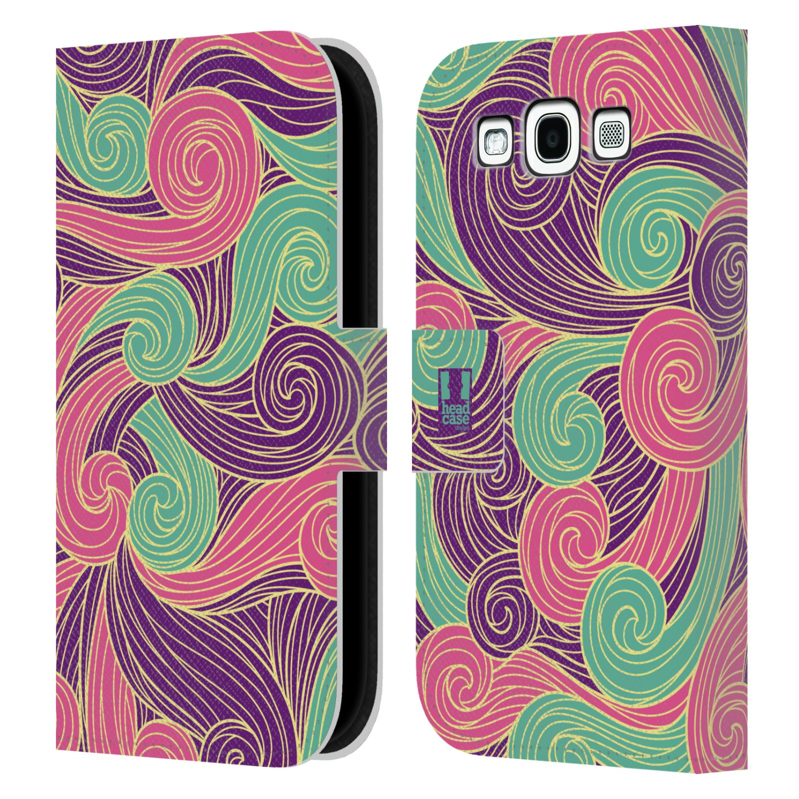 HEAD CASE Flipové pouzdro pro mobil Samsung Galaxy S3 barevné vlny růžová a fialová