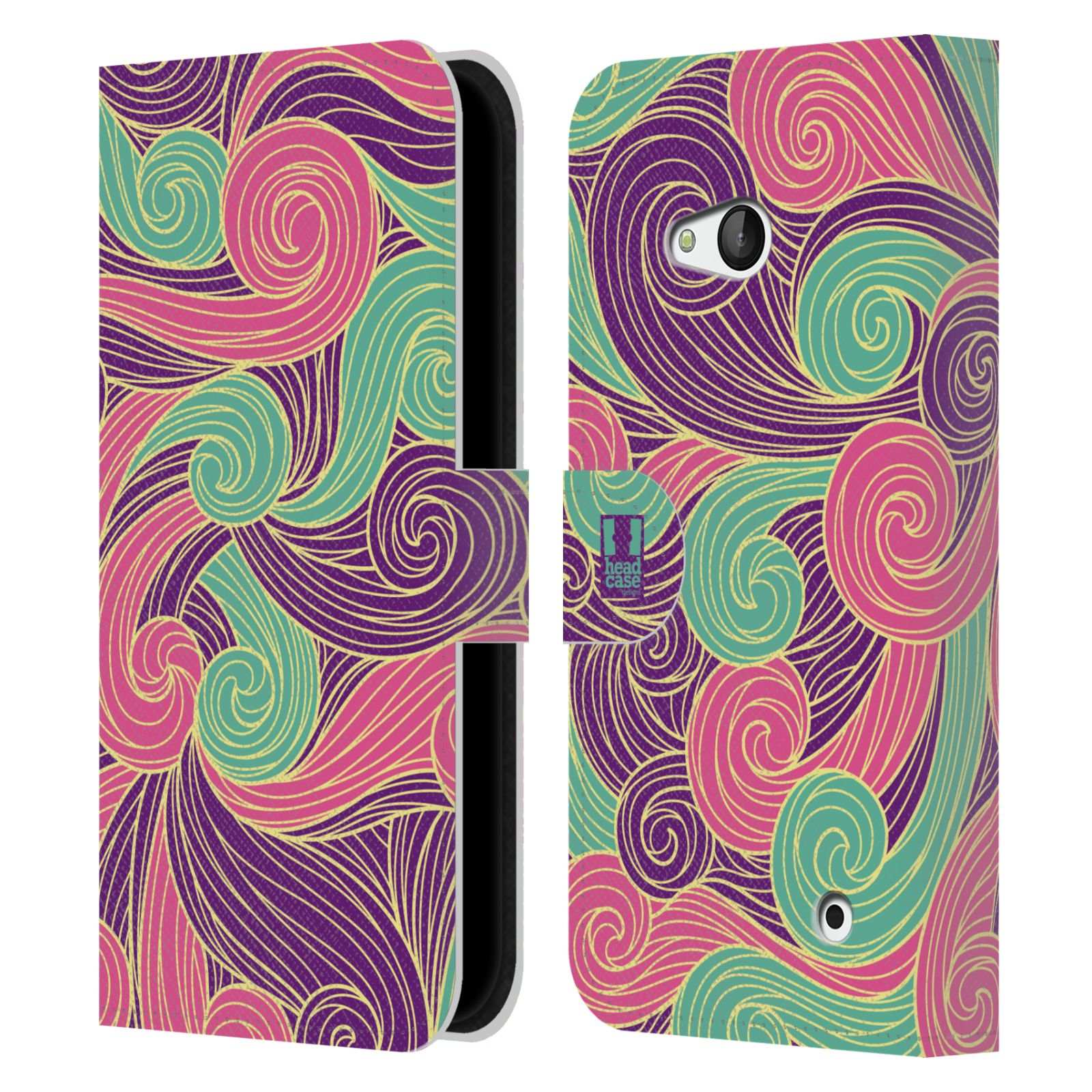 HEAD CASE Flipové pouzdro pro mobil NOKIA / MICROSOFT LUMIA 640 / LUMIA 640 DUAL barevné vlny růžová a fialová