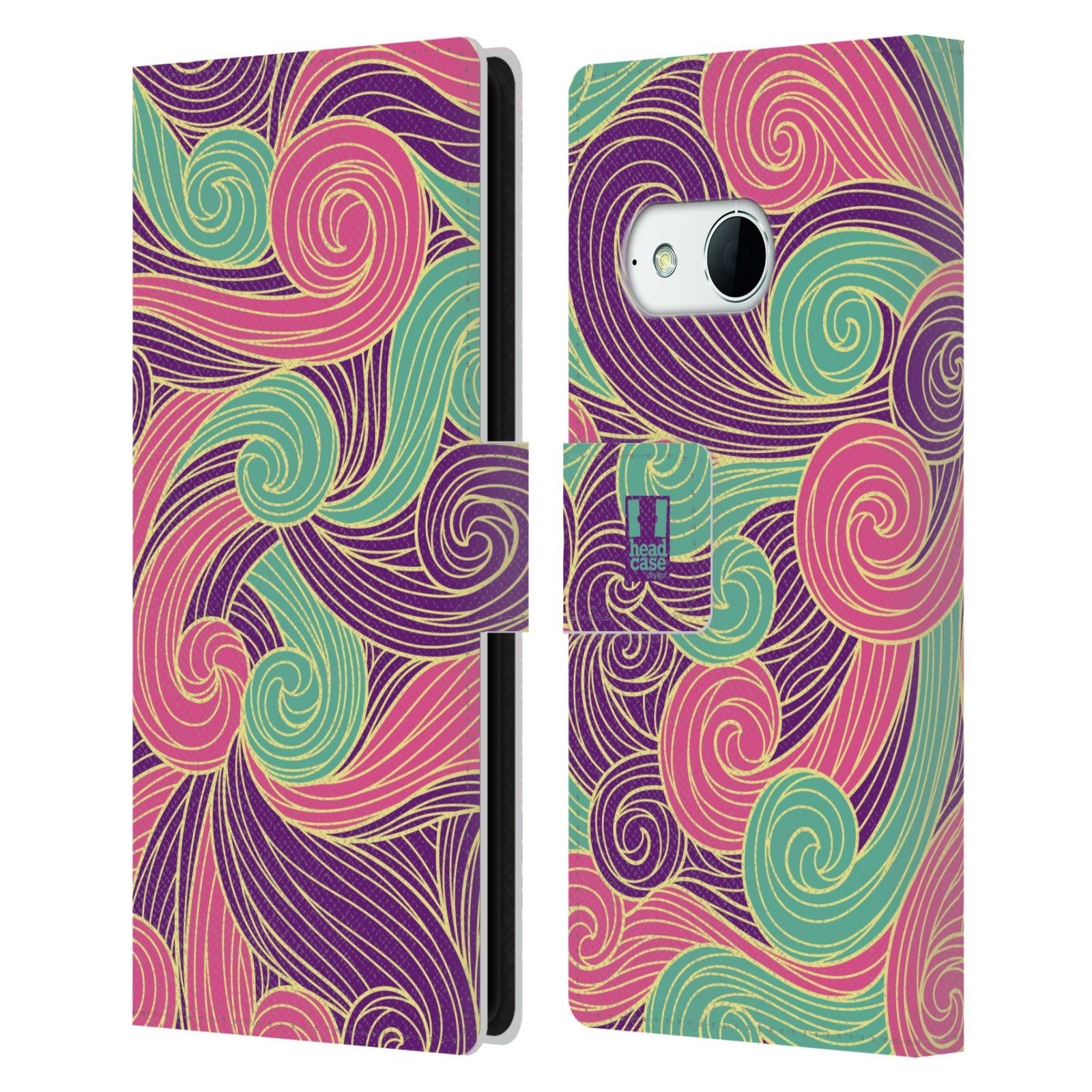 HEAD CASE Flipové pouzdro pro mobil HTC ONE MINI 2 (M8) barevné vlny růžová a fialová