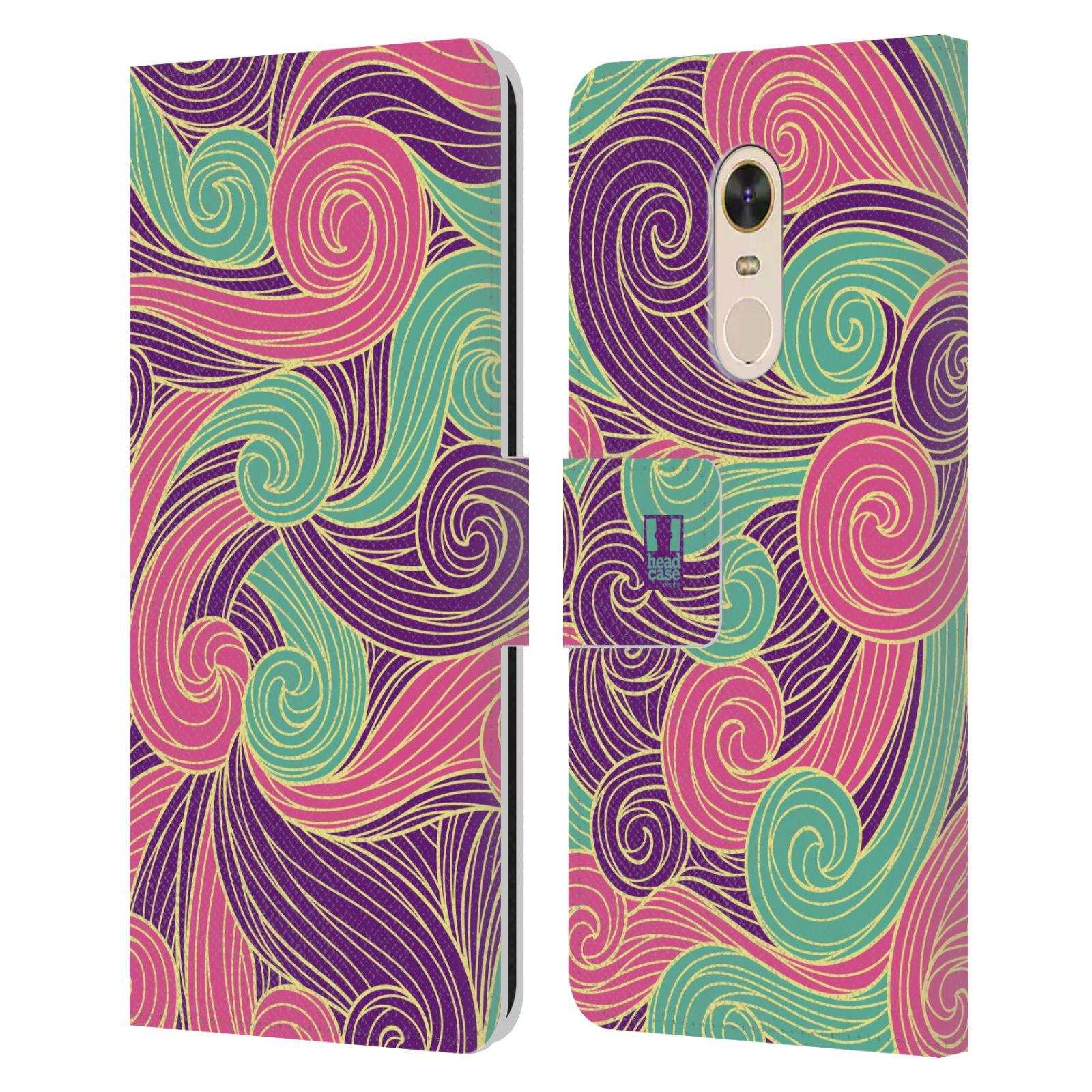 HEAD CASE Flipové pouzdro pro mobil Xiaomi Redmi Note 5 barevné vlny růžová a fialová