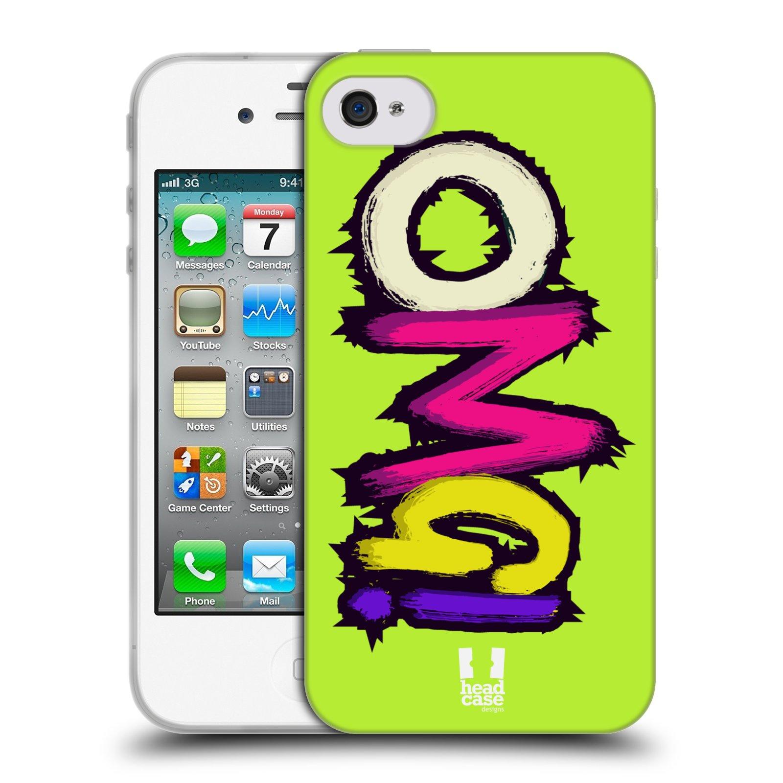 HEAD CASE silikonový obal na mobil Apple Iphone 4 4S vzor zelená OH MY GOD  (OMG) 506833046b8