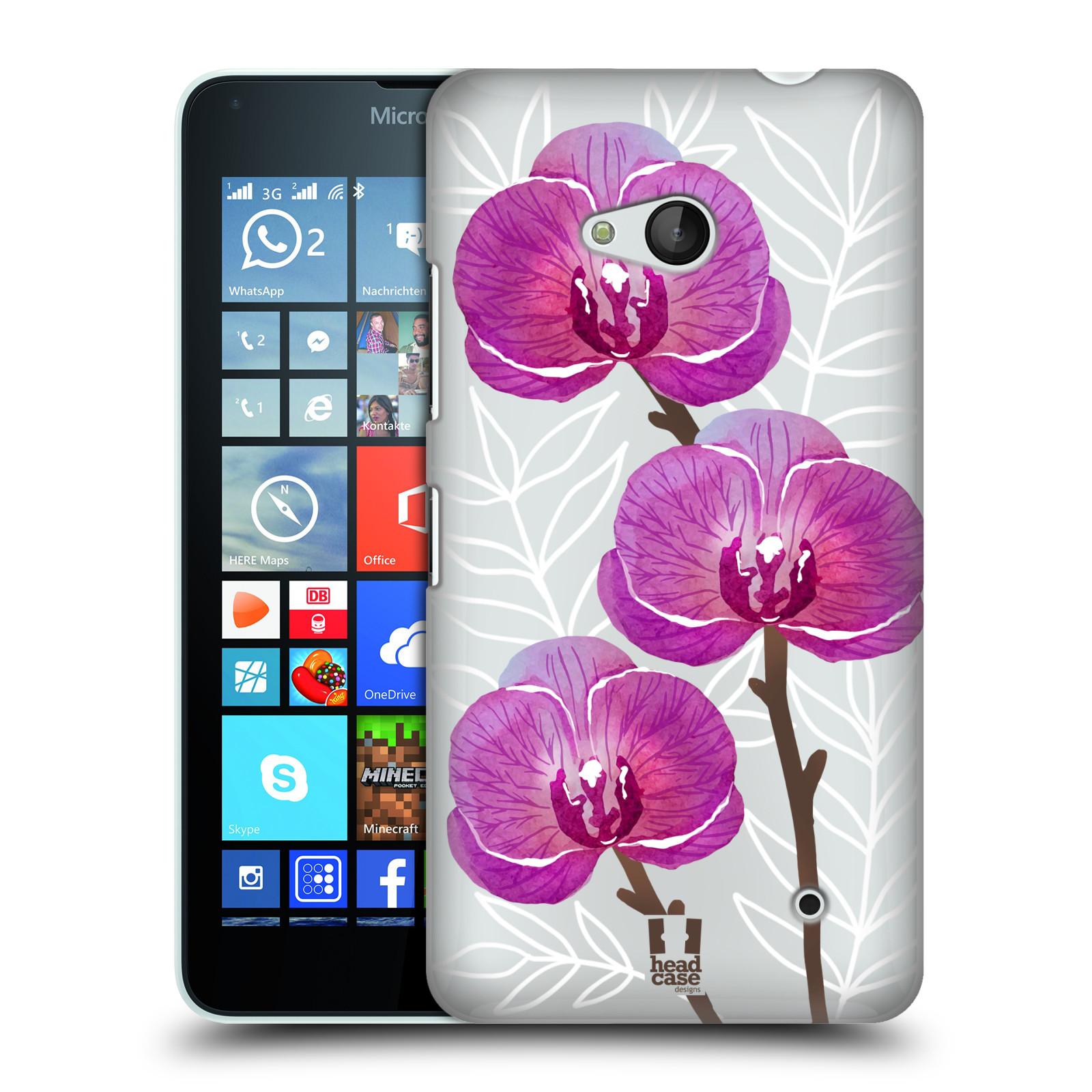 HEAD CASE plastový obal na mobil Nokia Lumia 640 Orchideje fialová