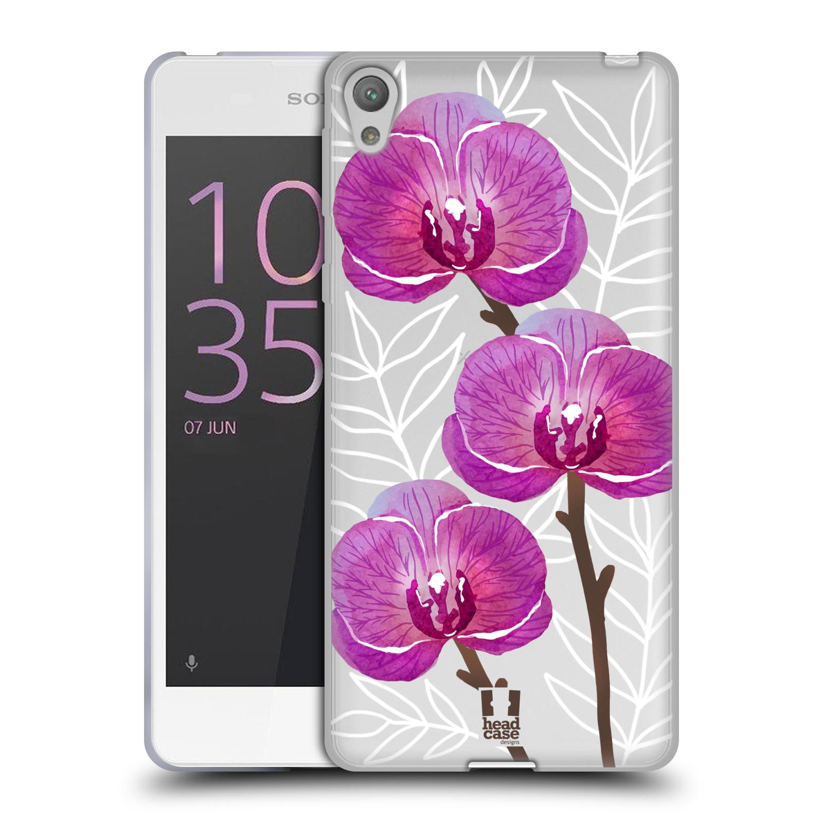 HEAD CASE silikonový obal na mobil Sony Xperia E5 Orchideje fialová