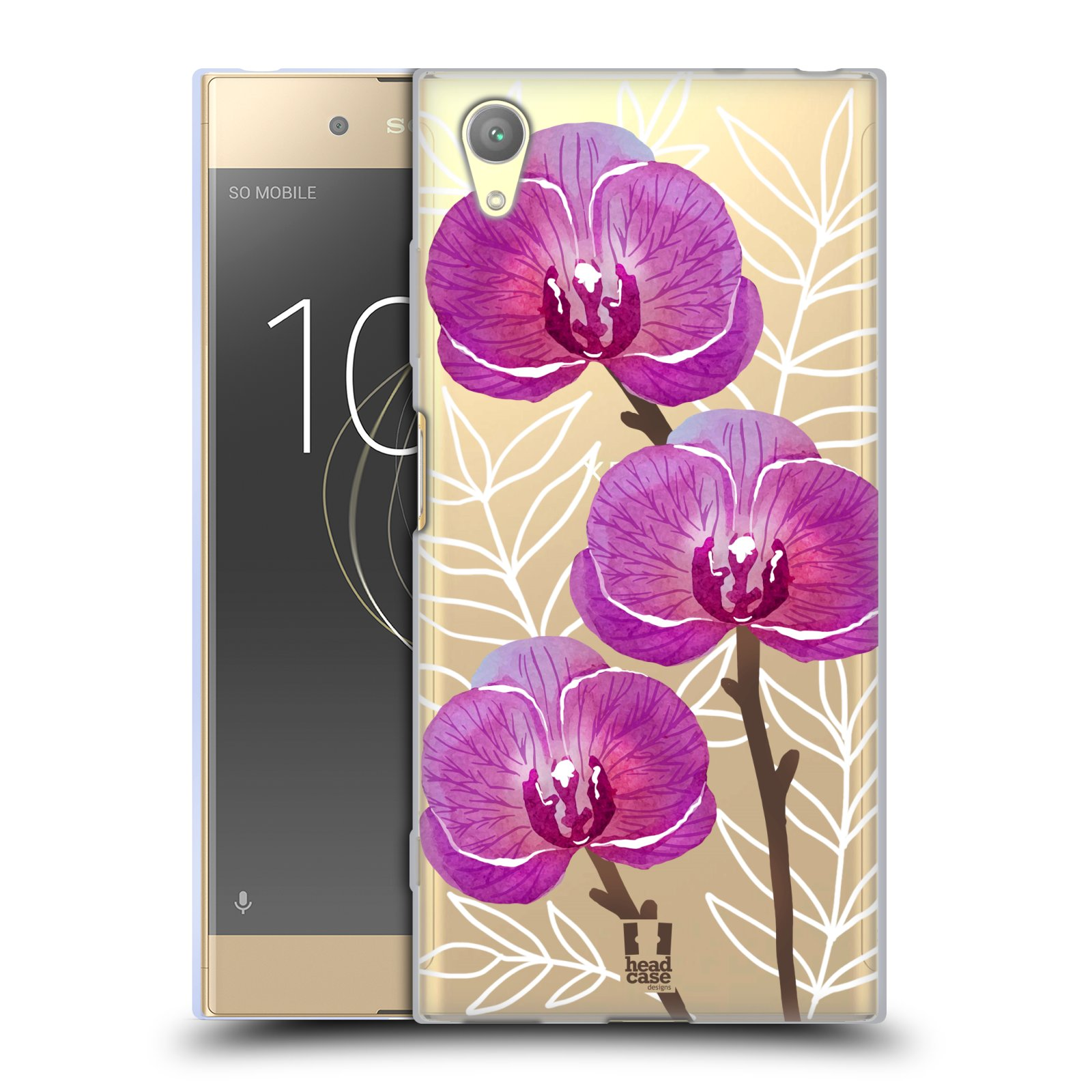 HEAD CASE silikonový obal na mobil Sony Xperia XA1 PLUS Orchideje fialová