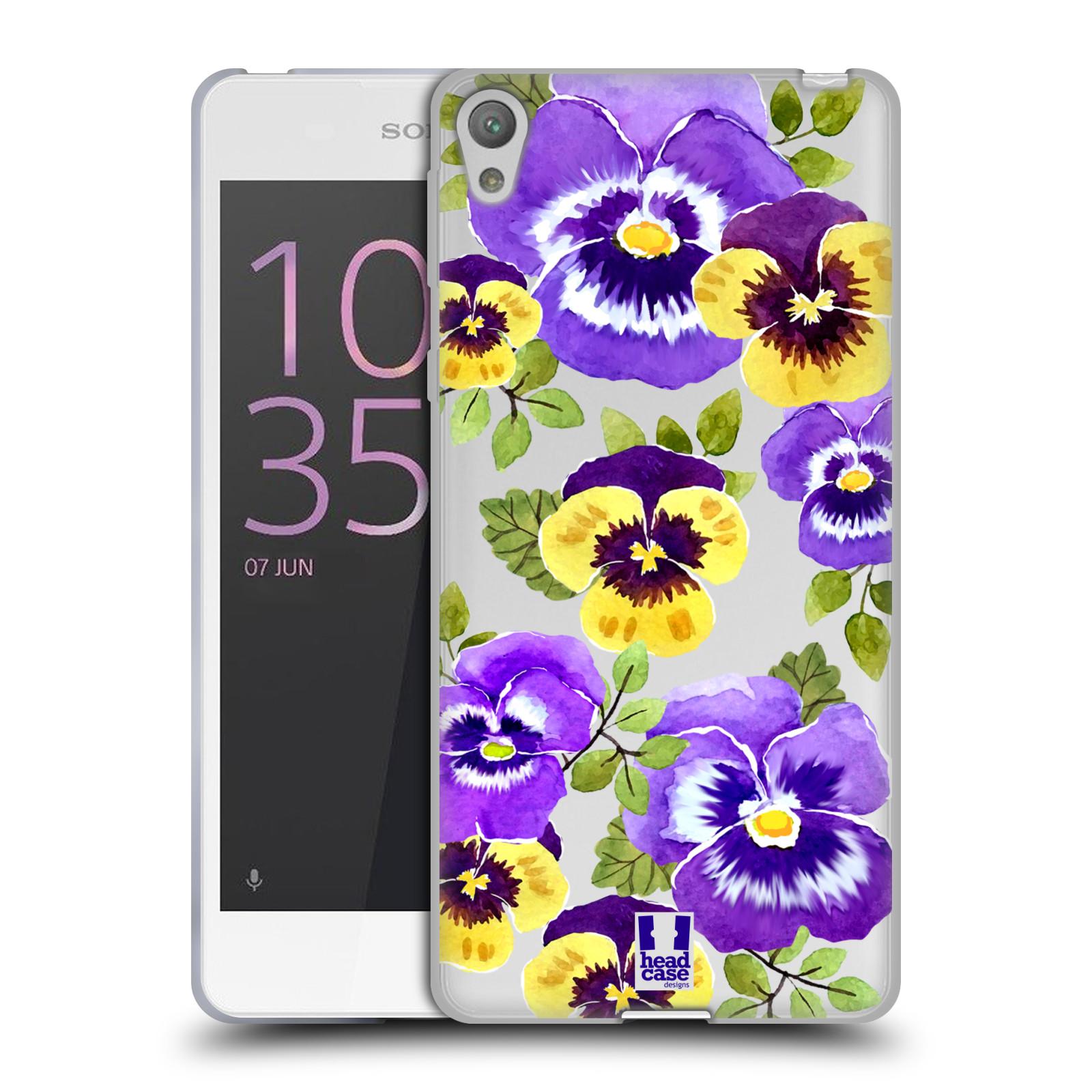 HEAD CASE silikonový obal na mobil Sony Xperia E5 Maceška fialová barva