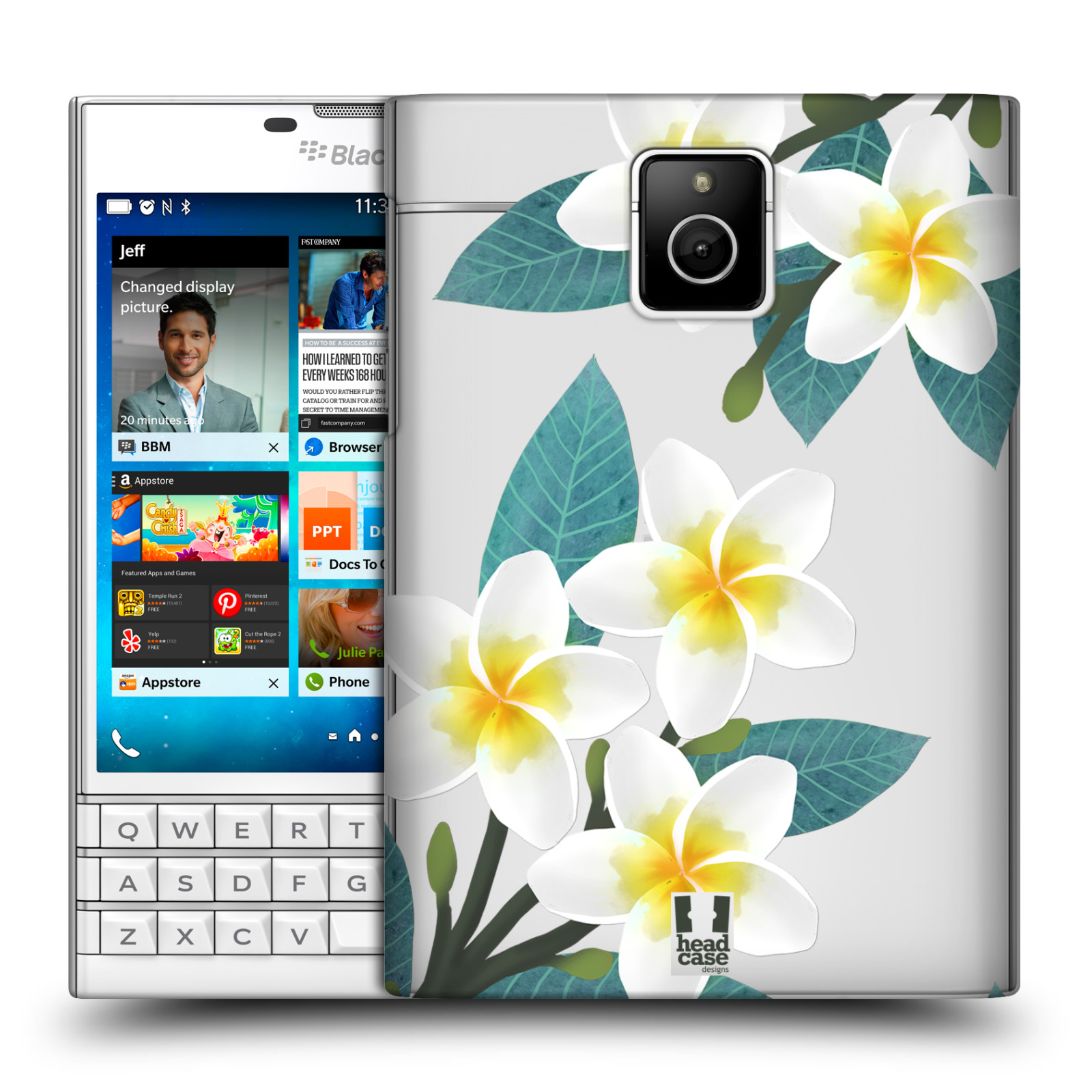 HEAD CASE plastový obal na mobil BlackBerry Passport květinové vzory Plumérie
