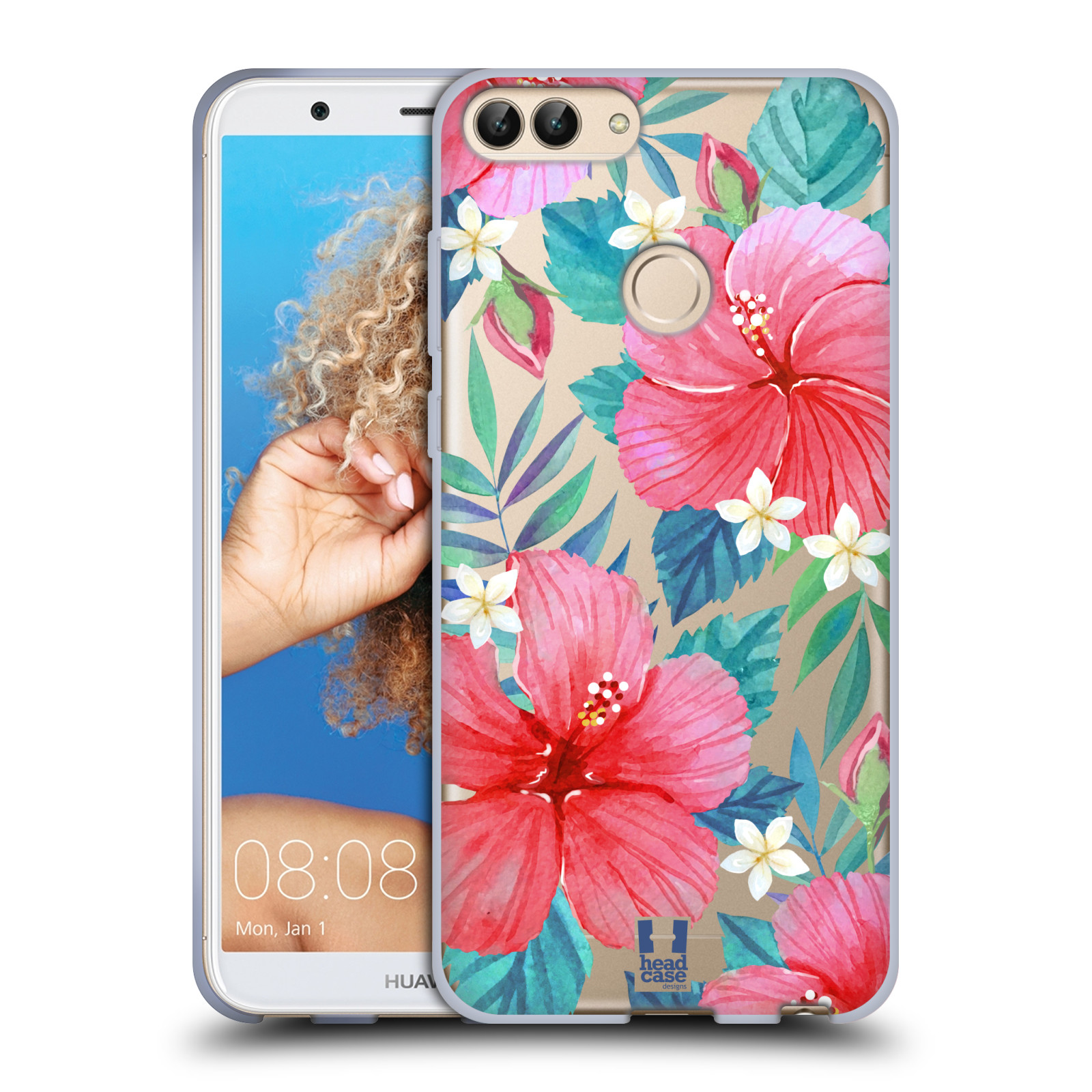 HEAD CASE silikonový obal na mobil Huawei P Smart (DUAL SIM a SINGLE SIM) květinové vzory Ibišek čínská růže