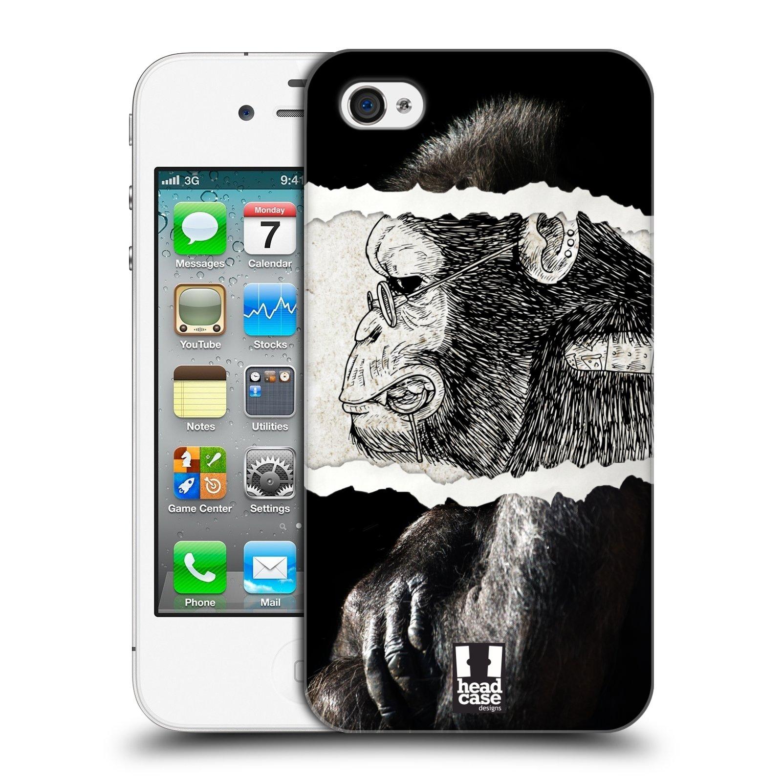 HEAD CASE plastový obal na mobil Apple Iphone 4/4S vzor zvířata koláž opice