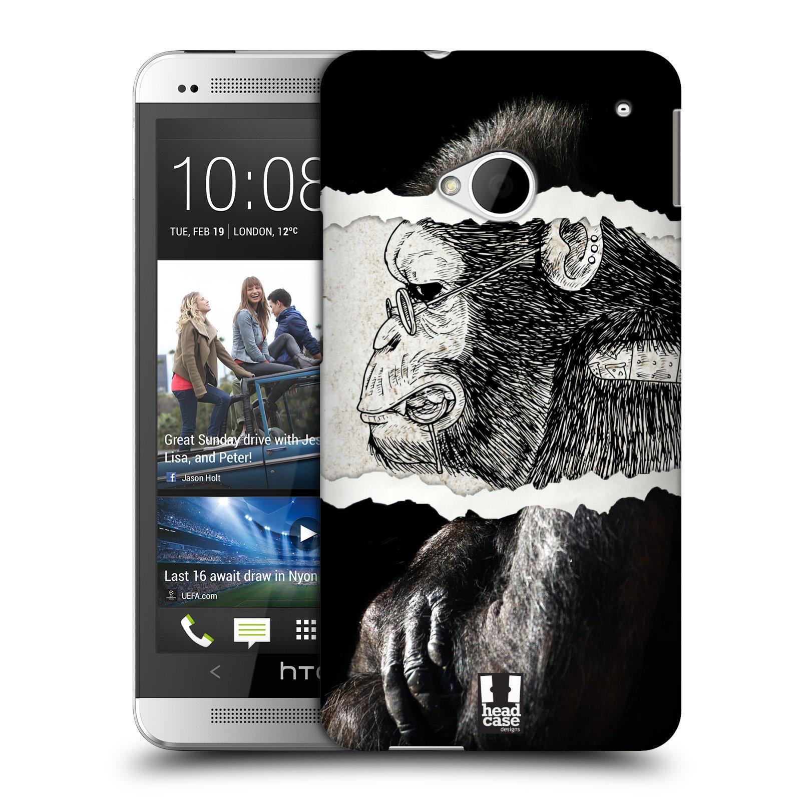 HEAD CASE plastový obal na mobil HTC One (M7) vzor zvířata koláž opice
