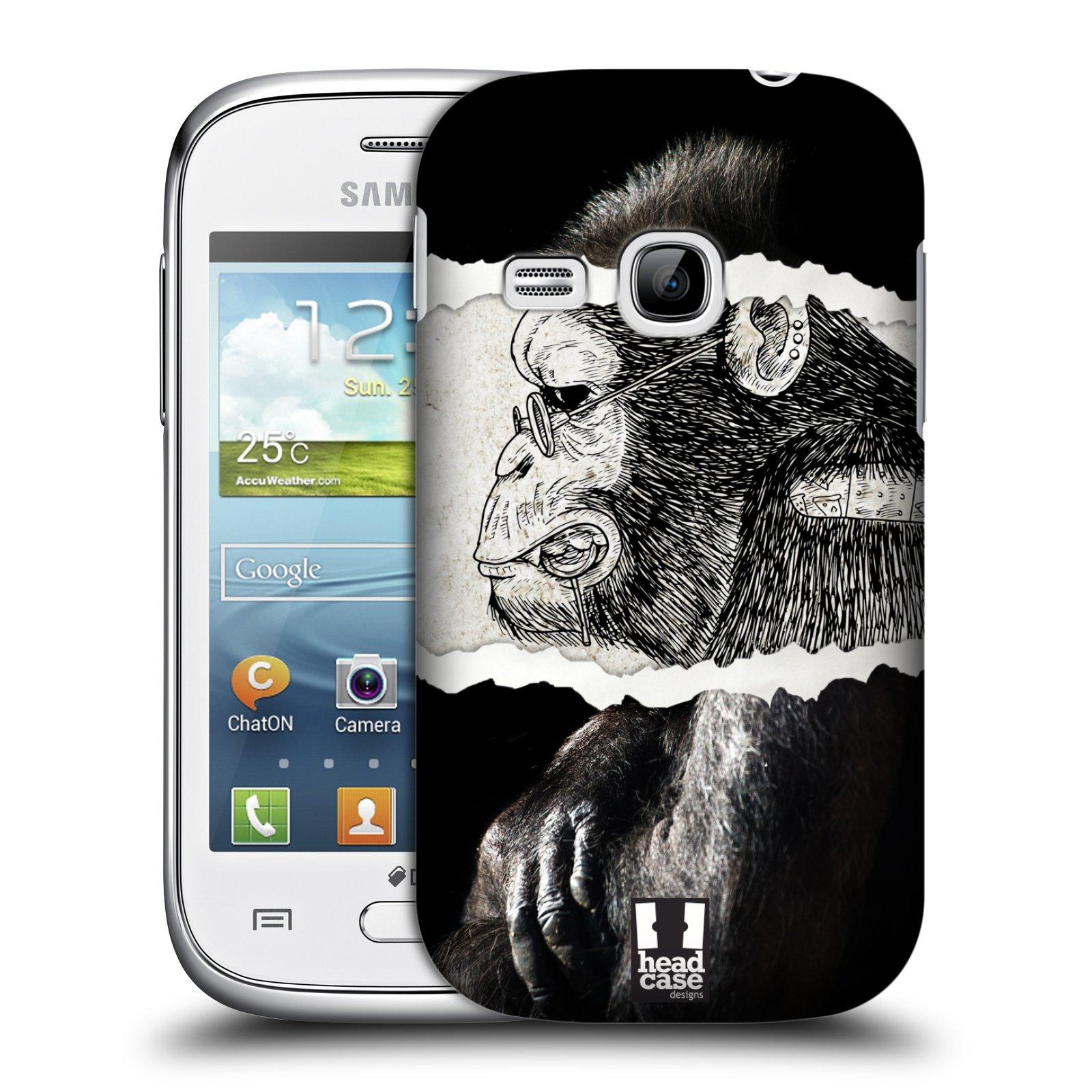 HEAD CASE plastový obal na mobil SAMSUNG Galaxy Young S6310 vzor zvířata koláž opice