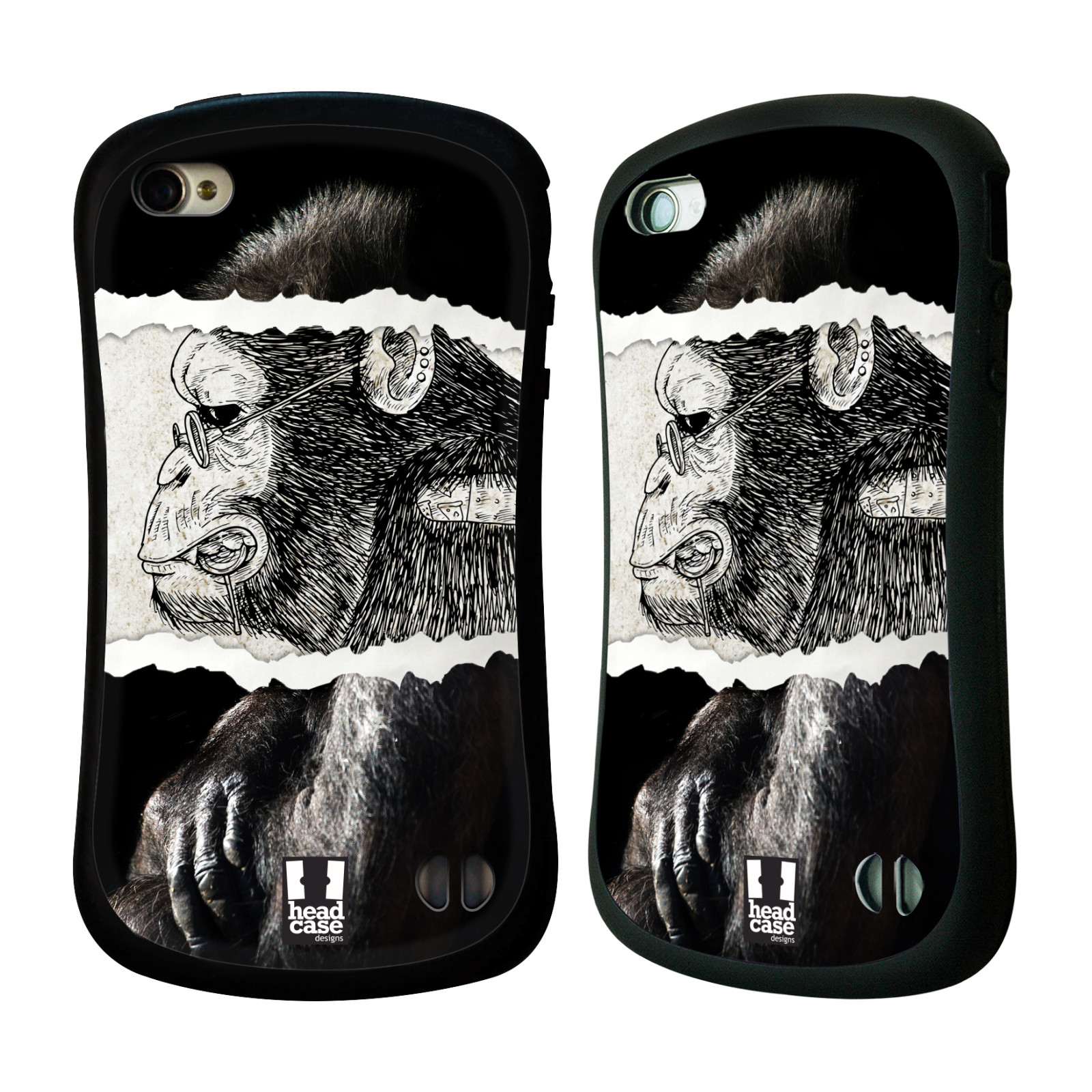 HEAD CASE silikon/plast odolný obal na mobil Apple Iphone 4/4S vzor zvířata koláž opice