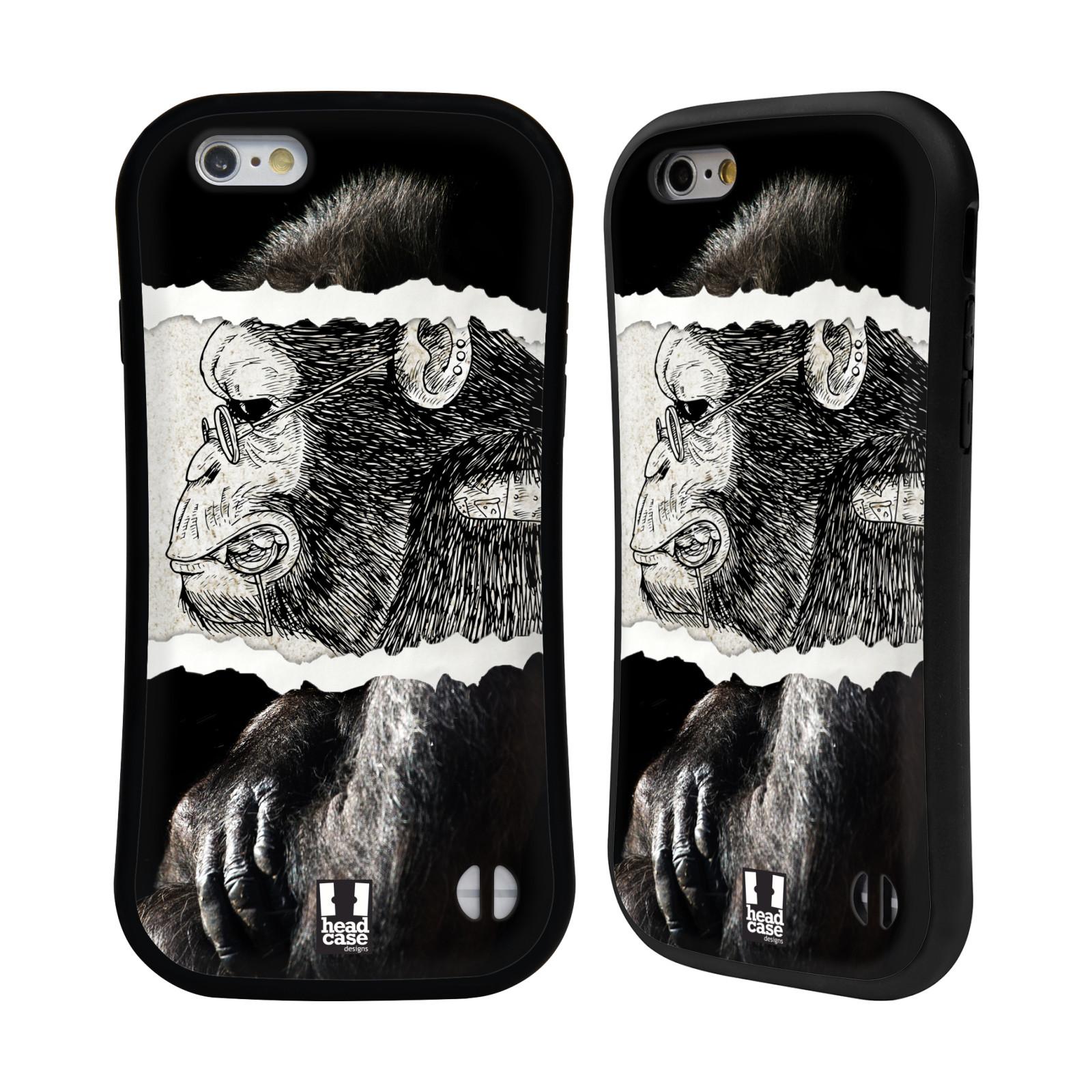 HEAD CASE silikon/plast odolný obal na mobil Apple Iphone 6/6S vzor zvířata koláž opice