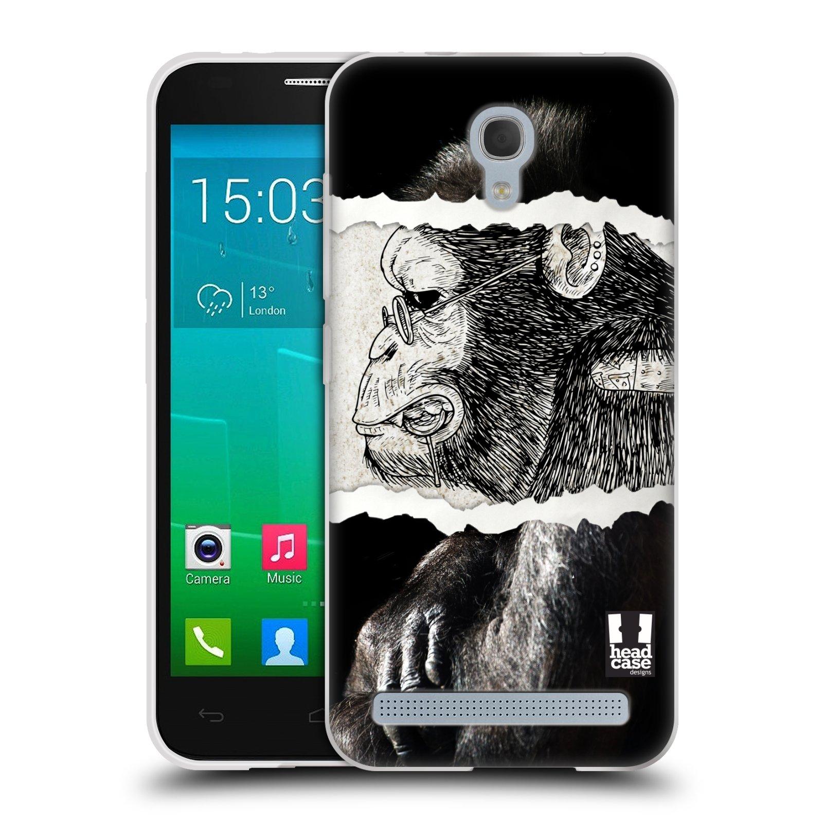 HEAD CASE silikonový obal na mobil Alcatel Idol 2 MINI S 6036Y vzor zvířata koláž opice