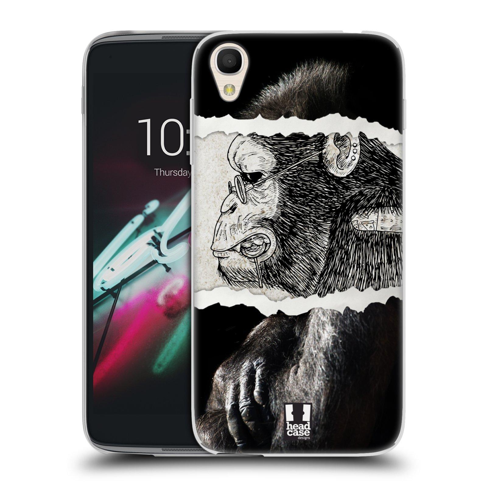 HEAD CASE silikonový obal na mobil Alcatel Idol 3 OT-6039Y (4.7) vzor zvířata koláž opice