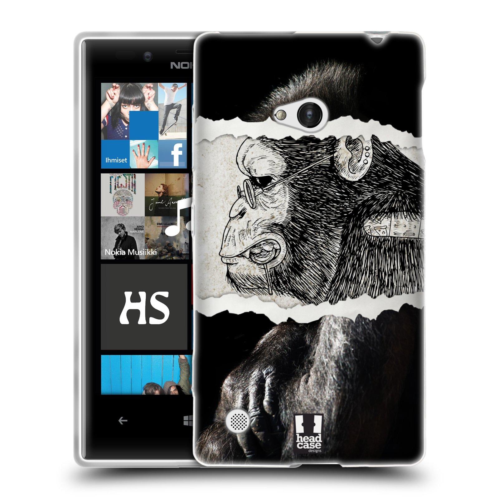HEAD CASE silikonový obal na mobil NOKIA Lumia 720 vzor zvířata koláž opice