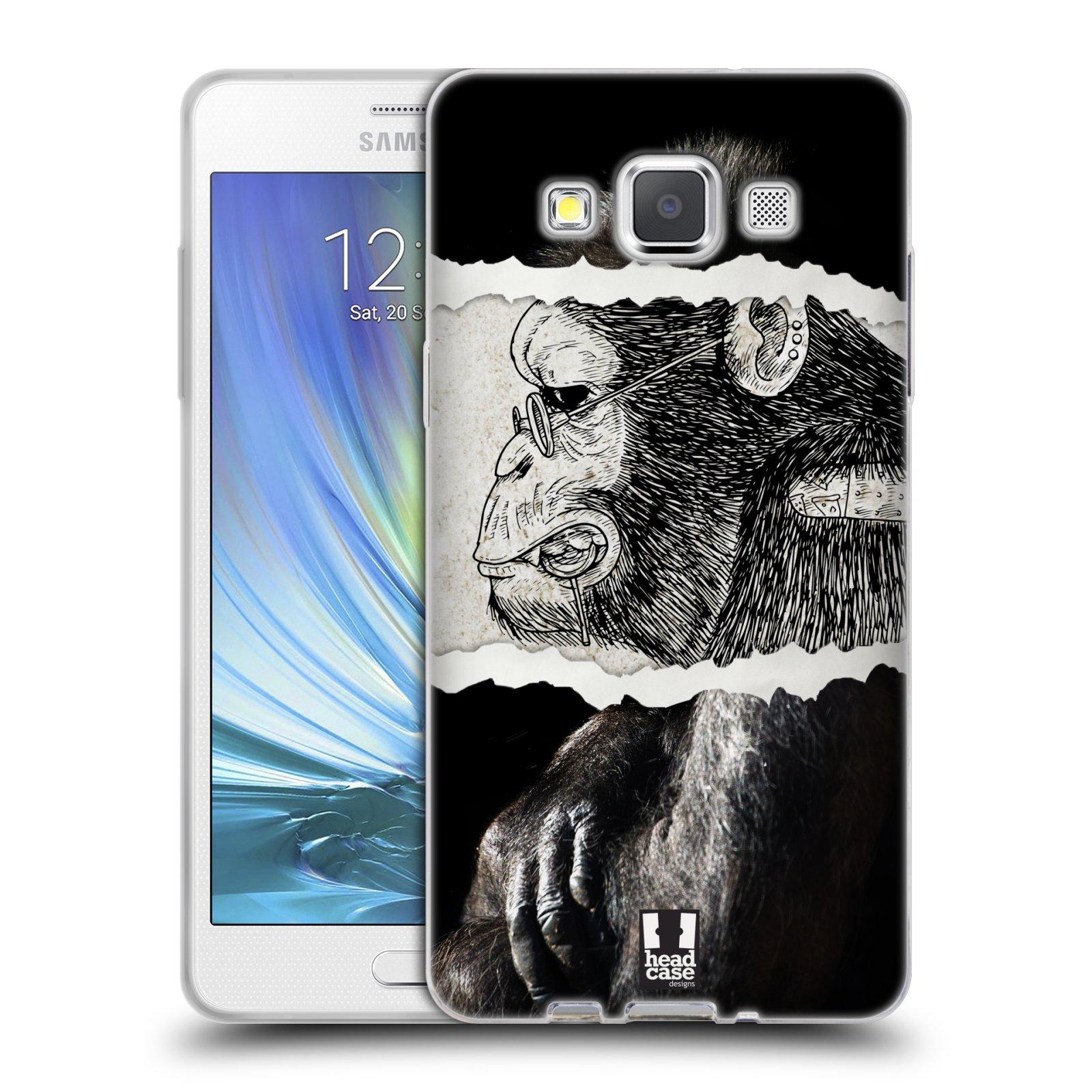 HEAD CASE silikonový obal na mobil Samsung Galaxy A5 vzor zvířata koláž opice