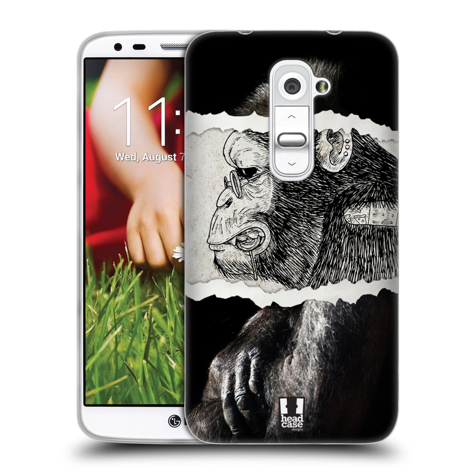 HEAD CASE silikonový obal na mobil LG G2 vzor zvířata koláž opice